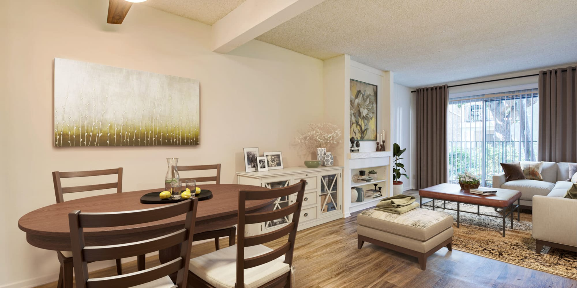 Spacious living areas in a three bedroom apartment at Village Pointe in Northridge, California