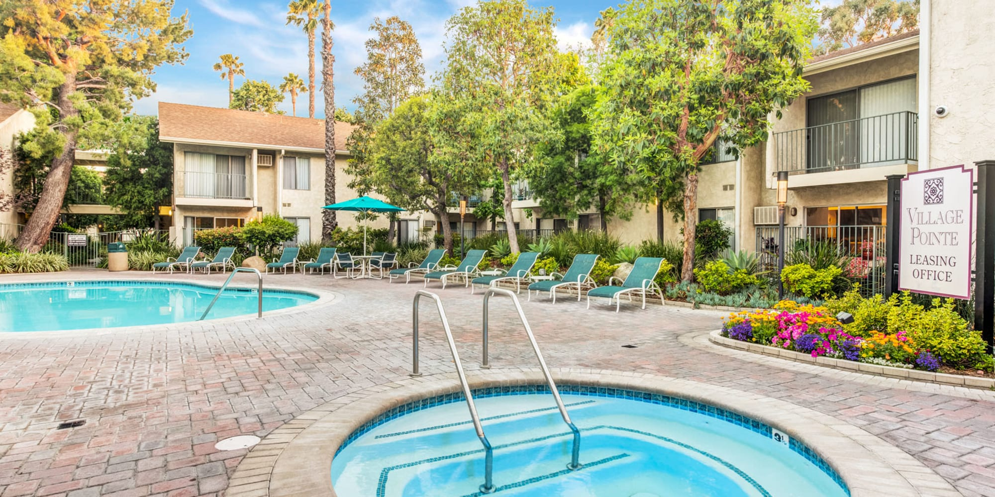 Beautiful morning at the spa and swimming pool area at Village Pointe in Northridge, California
