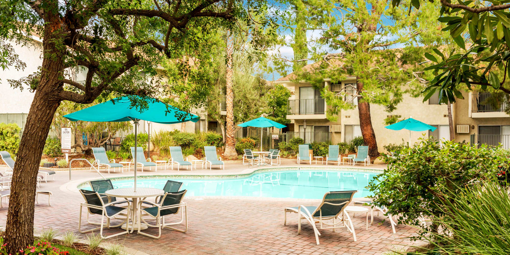 Trees and umbrellas providing shade at the swimming pool area at Village Pointe in Northridge, California