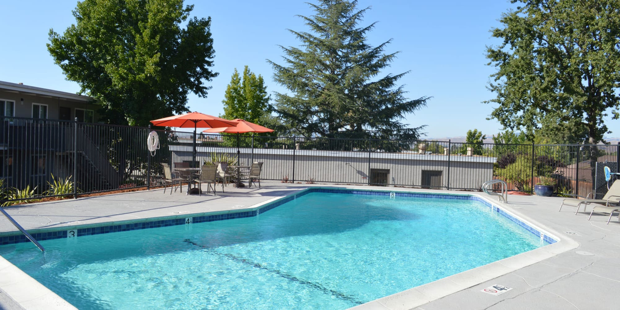 Inviting swimming pool on another beautiful day at Pleasanton Heights in Pleasanton, California