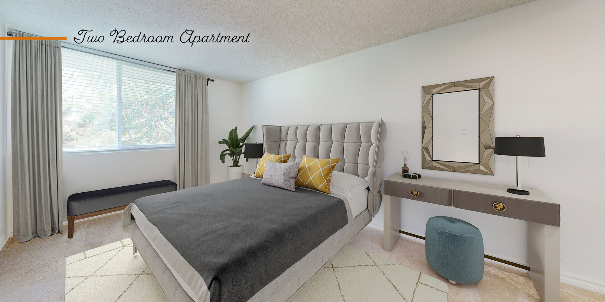 Bedroom in a two-bedroom apartment at Sunset Barrington Gardens in Los Angeles, California