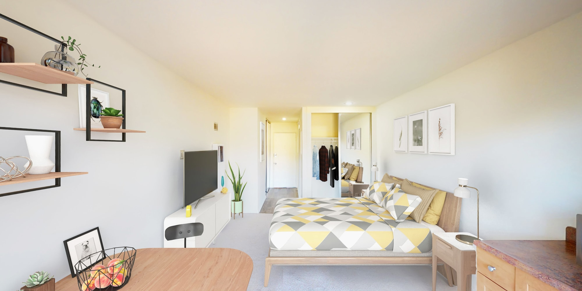 View from balcony to living space in a efficiency at West Park Village in Los Angeles, California