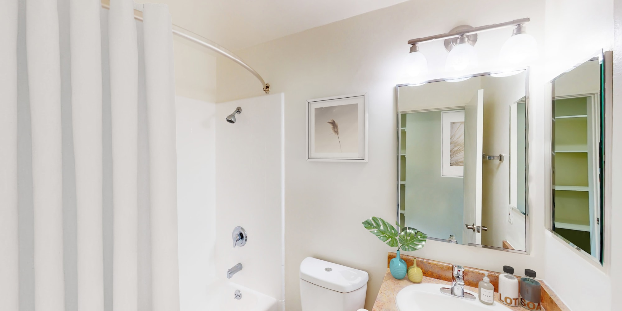 View of bathroom of a model efficiency home at West Park Village in Los Angeles, California