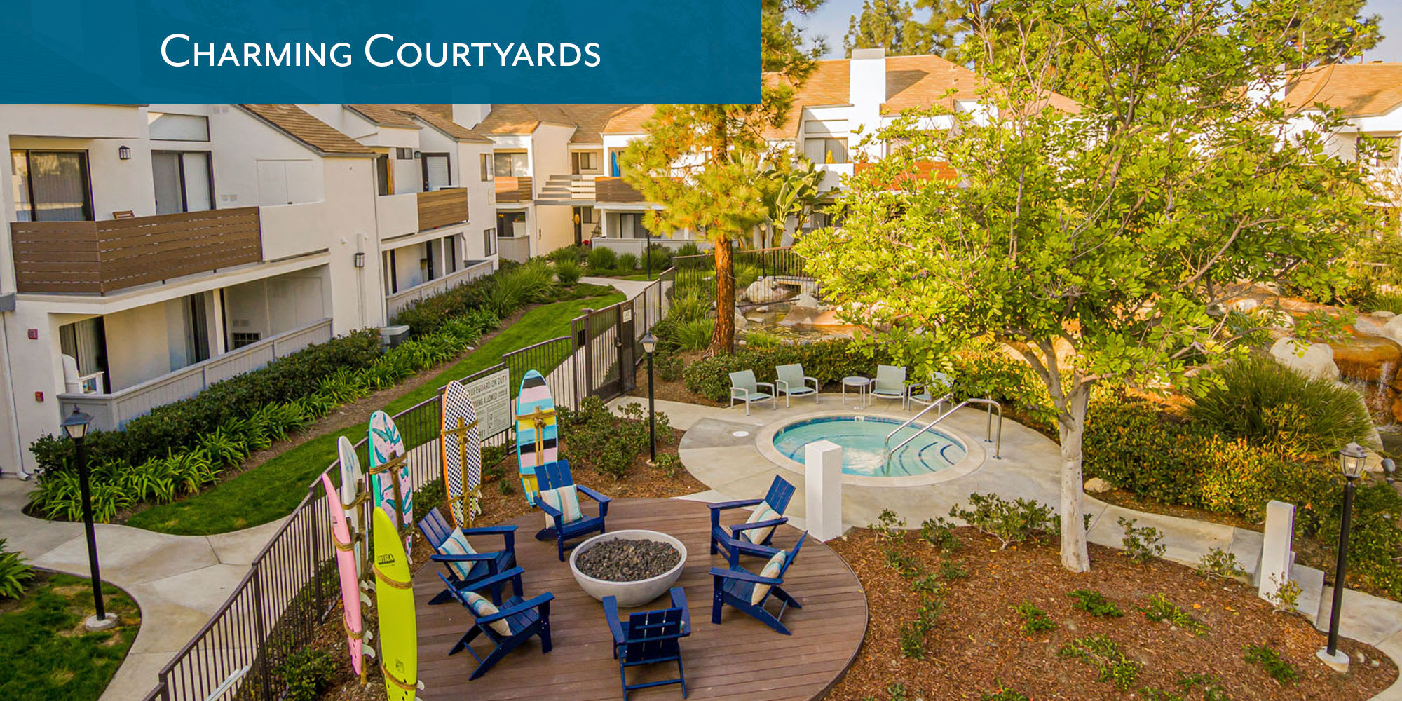 Charming courtyards at Sendero Huntington Beach in Huntington Beach, California