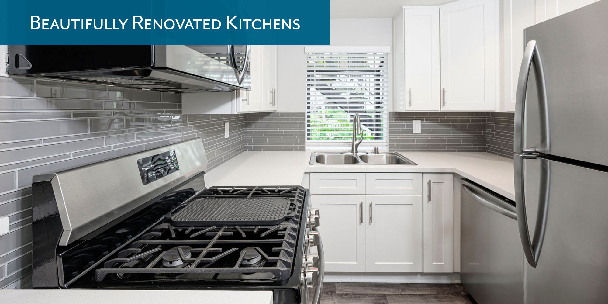 Beautifully renovated kitchens at Sendero Huntington Beach in Huntington Beach, California