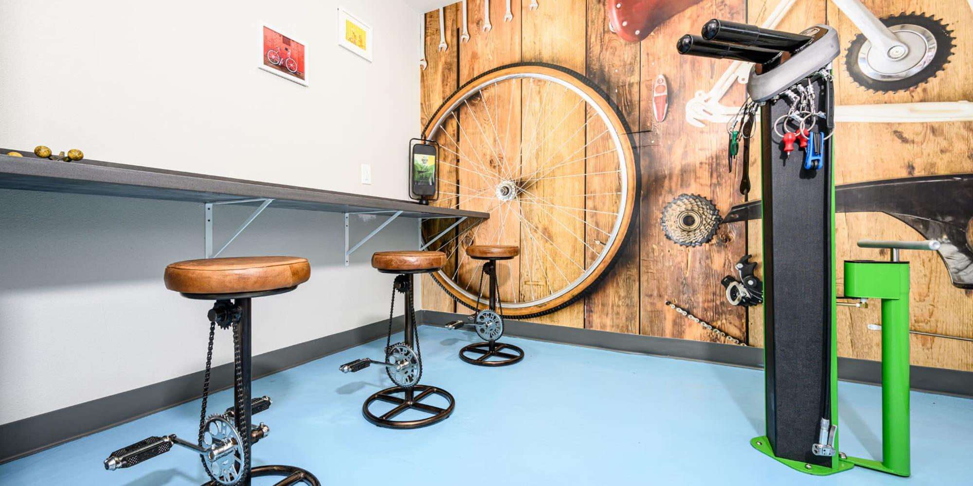 Bicycle repair station for resident convenience at Sendero Huntington Beach in Huntington Beach, California