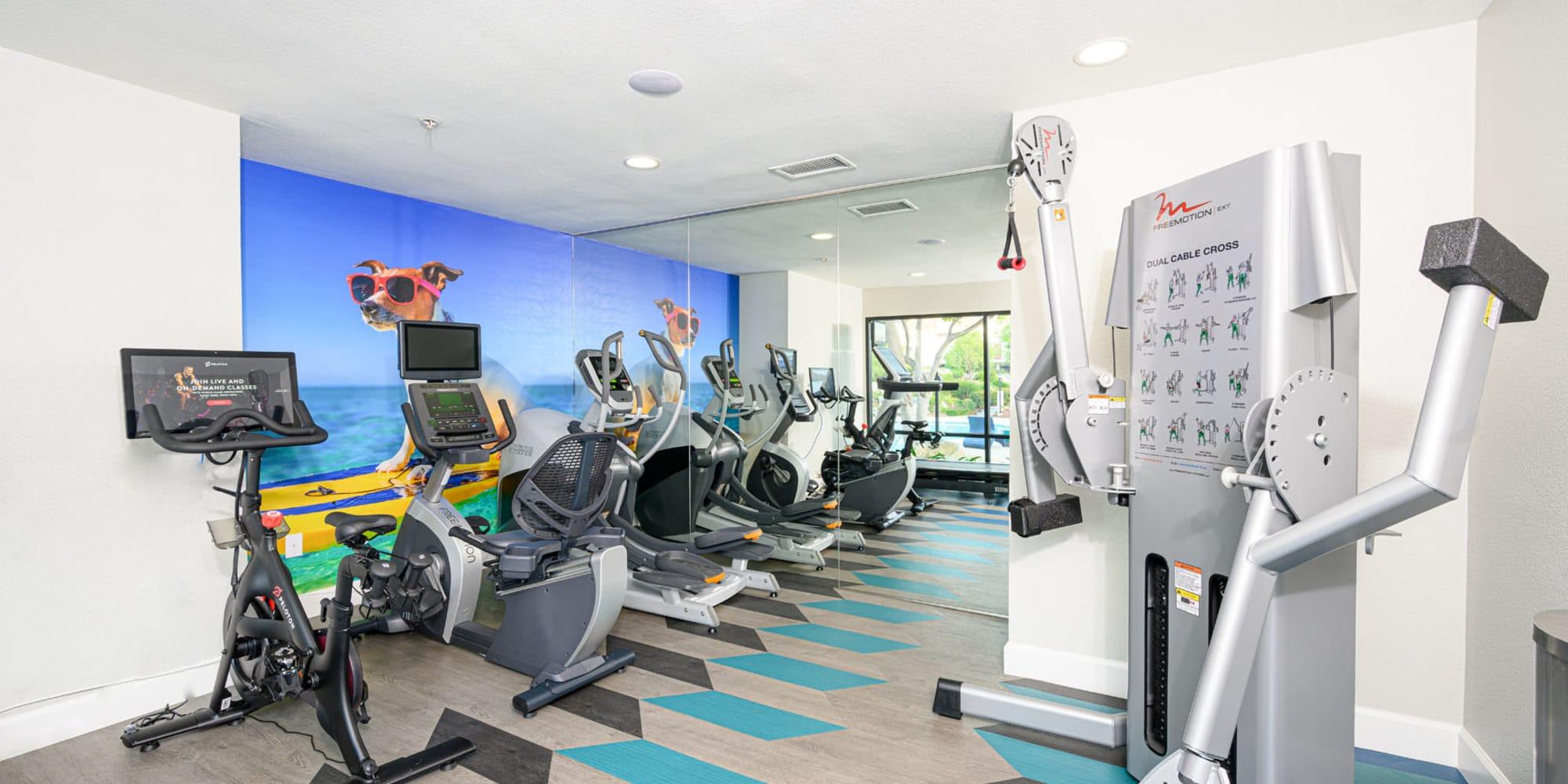 Onsite fitness center at Sendero Huntington Beach in Huntington Beach, California