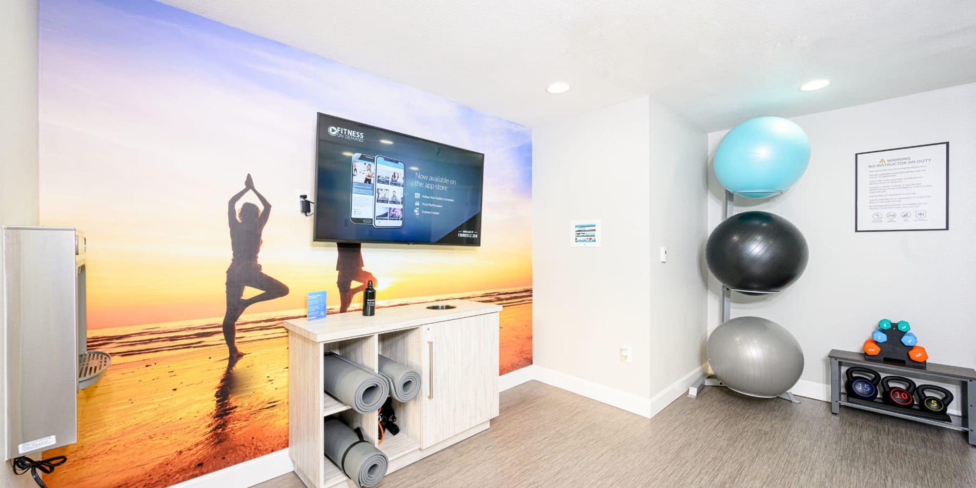 Yoga studio at Sendero Huntington Beach in Huntington Beach, California