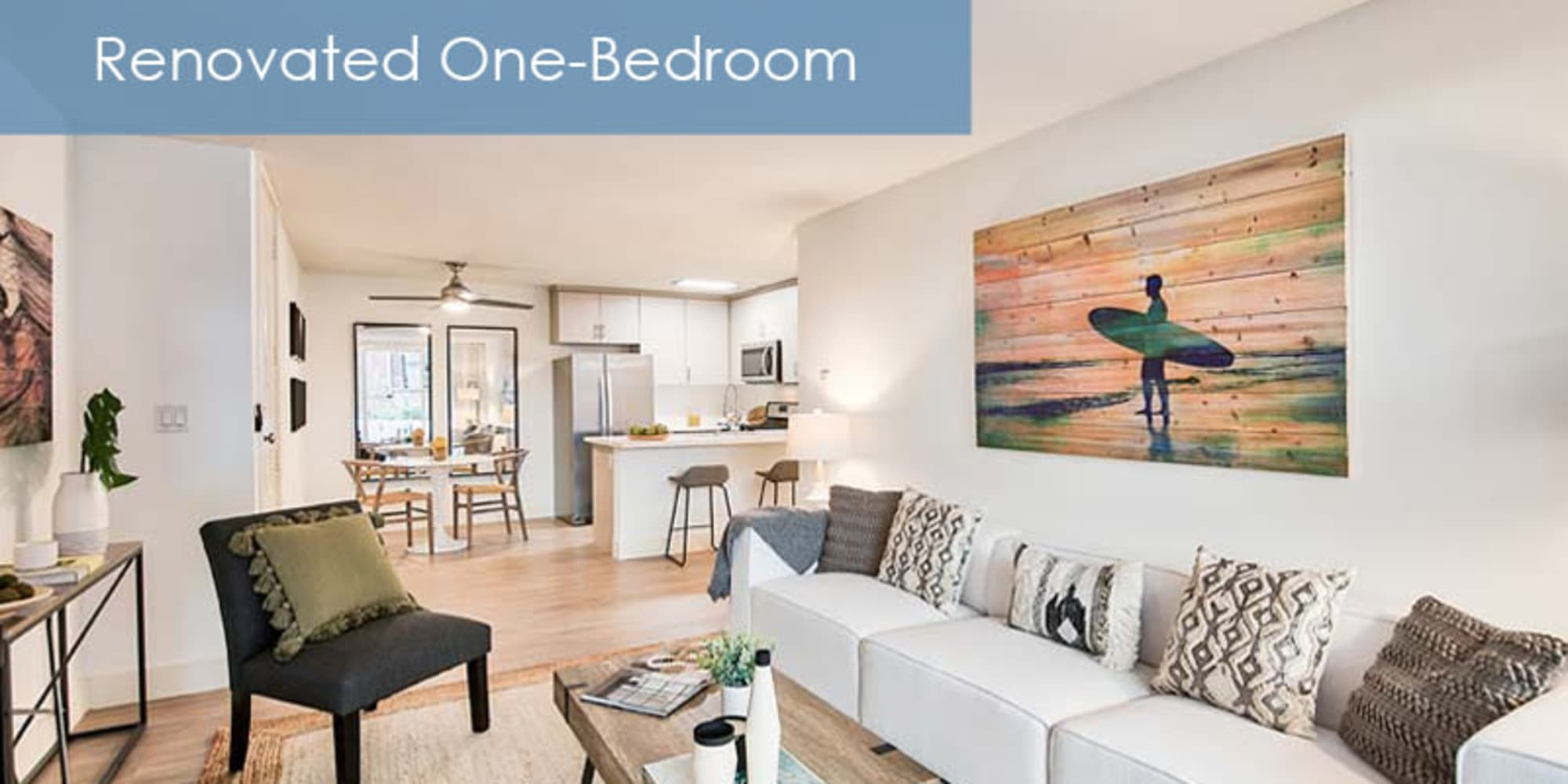 renovated living room at The Meadows in Culver City, California
