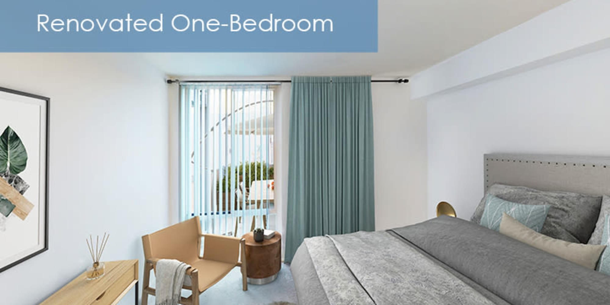 renovated bedroom at The Meadows in Culver City, California