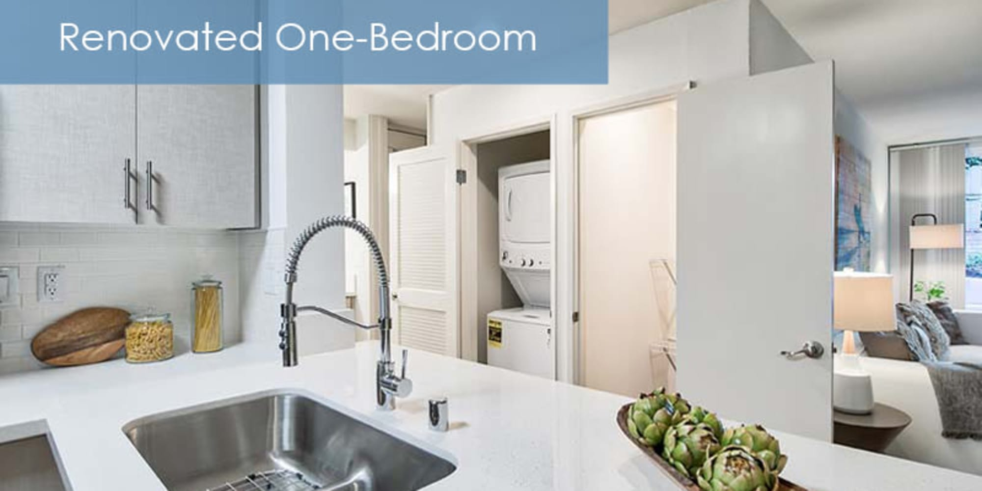 renovated kitchen with a stainless steel sink at The Meadows in Culver City, California