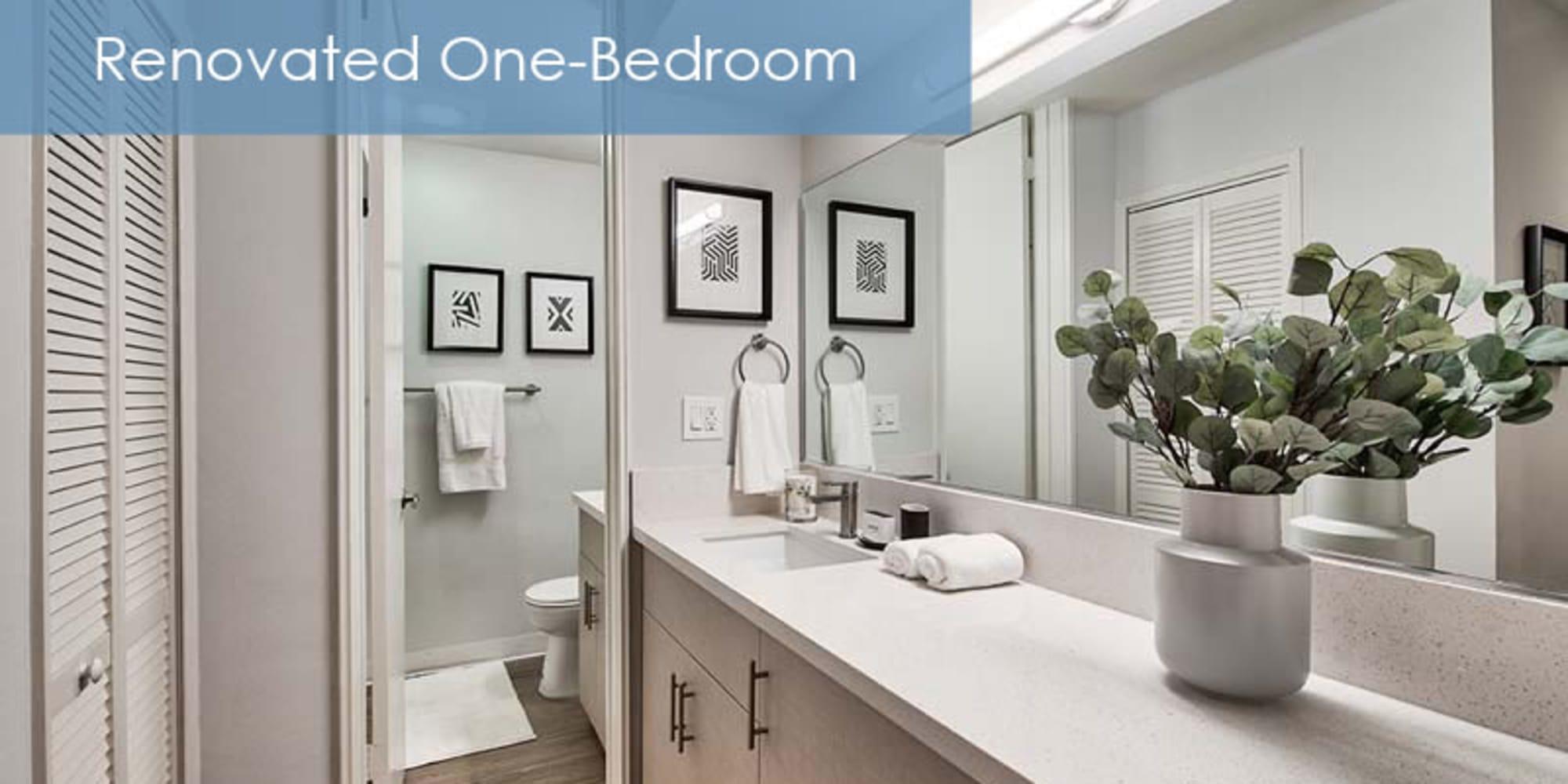 renovated bathroom at The Meadows in Culver City, California