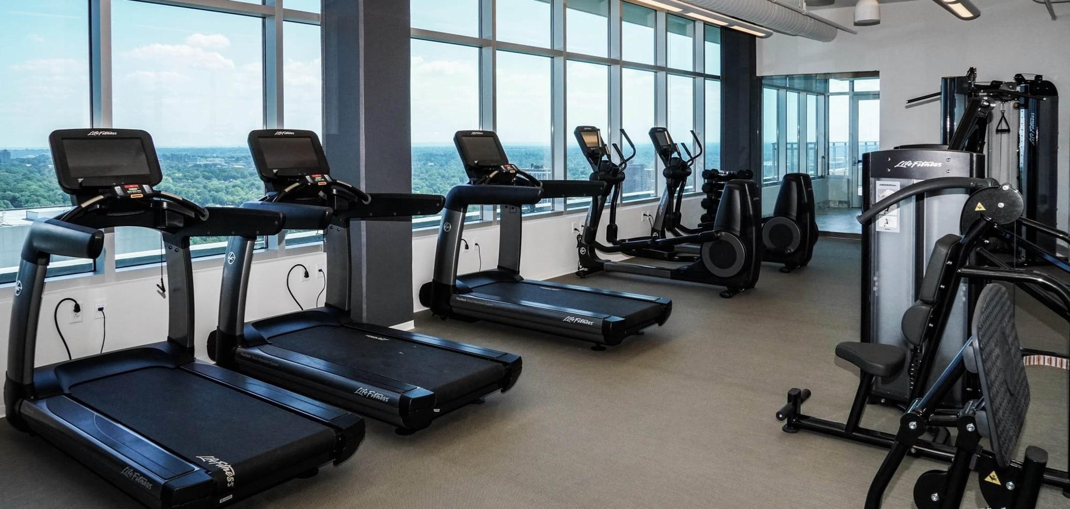 Cardio equipment in Two Twelve Clayton's fitness center in Clayton, Missouri