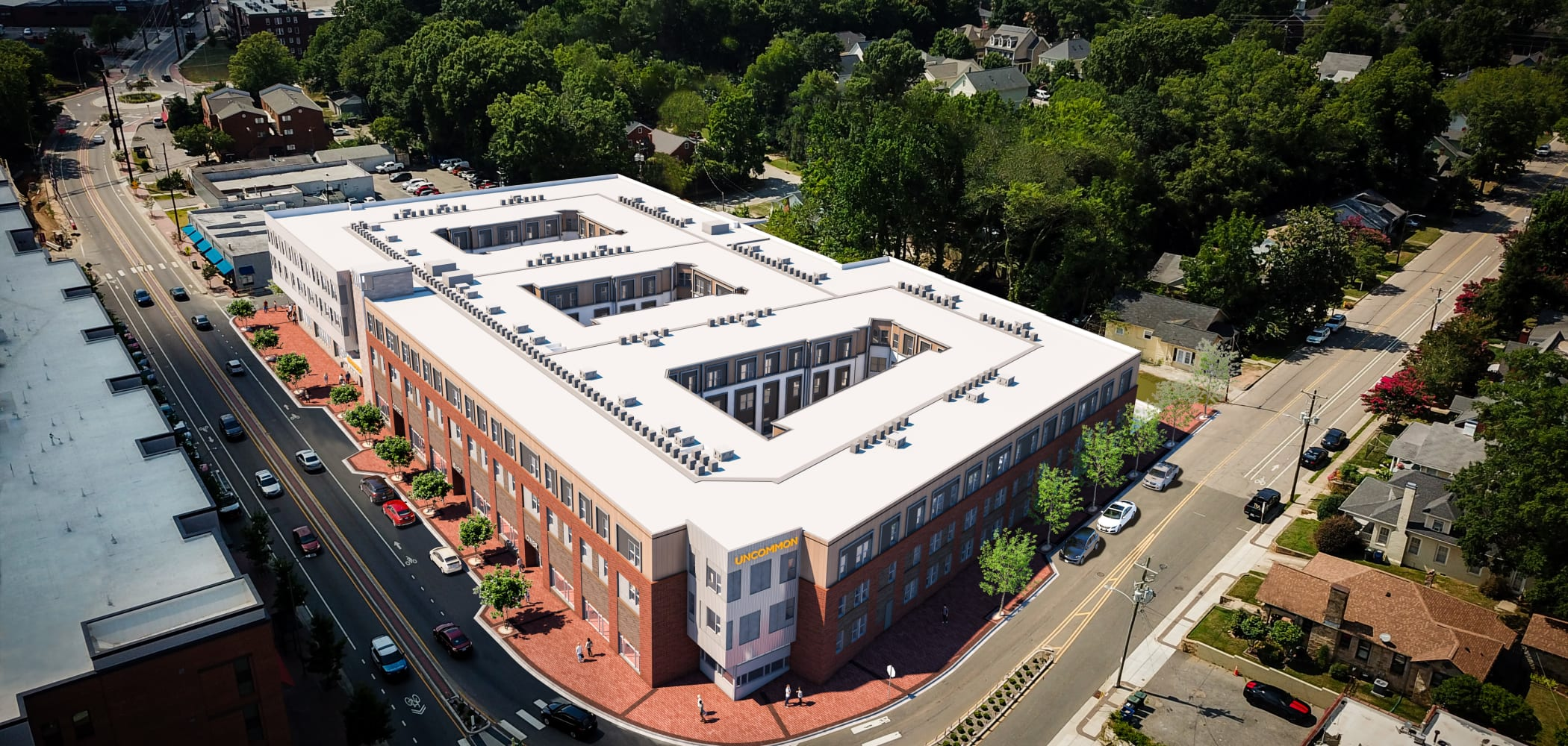 Aerial view of UNCOMMON Raleigh's building in Raleigh, North Carolina