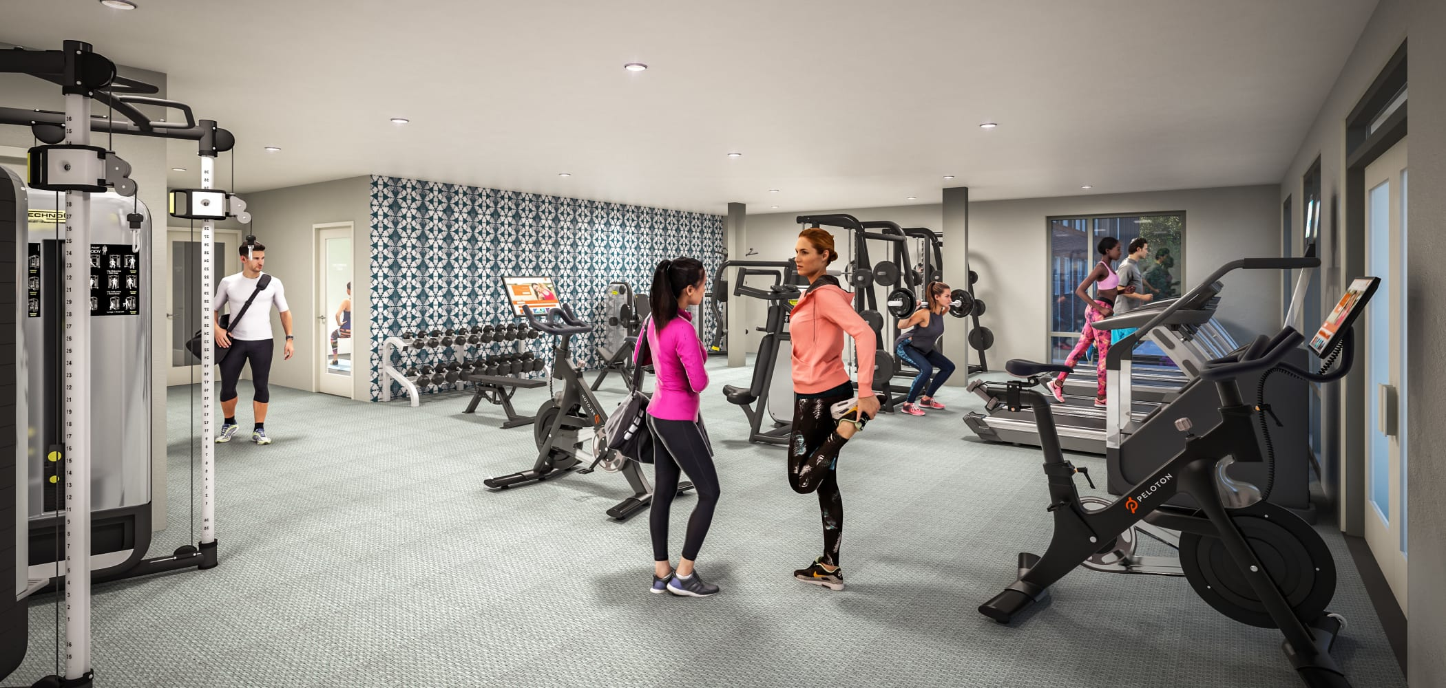 24-hour fitness center at UNCOMMON Raleigh in Raleigh, North Carolina