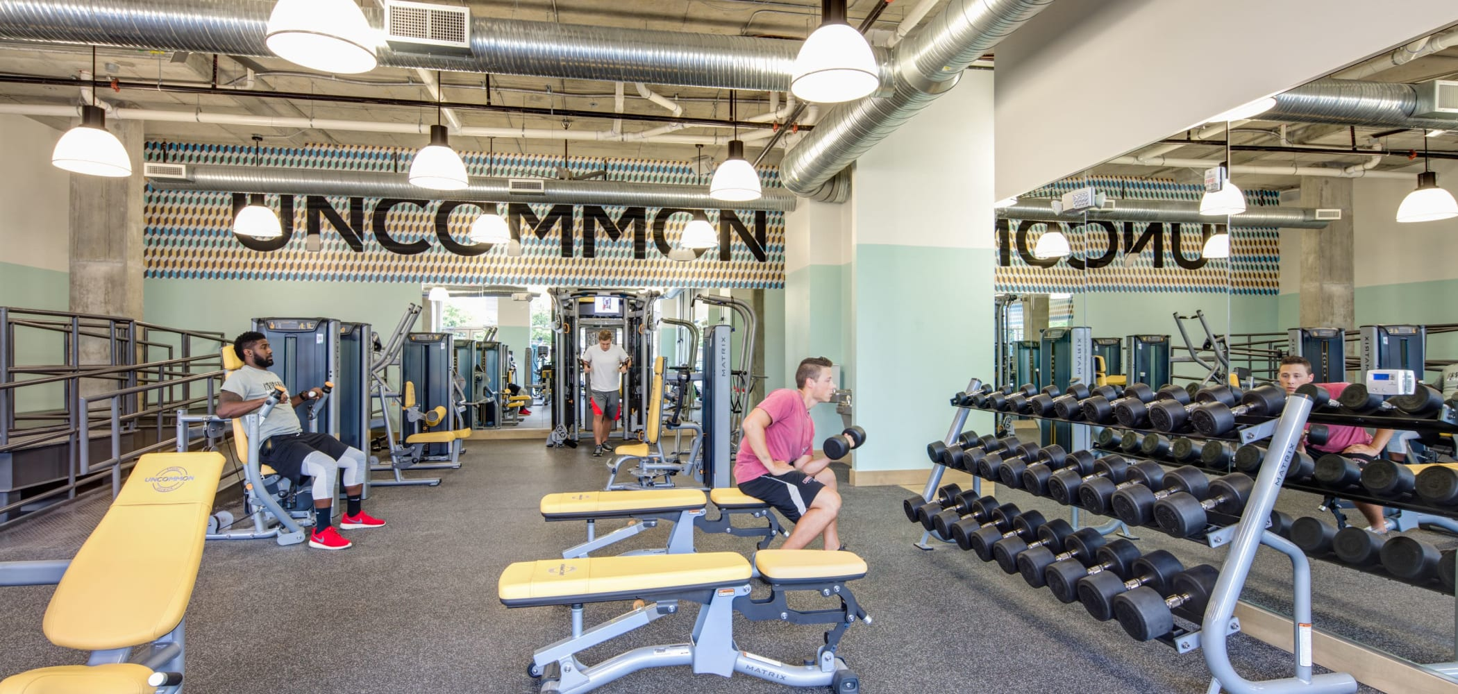 Fitness center for residents at UNCOMMON Athens in Athens, Georgia