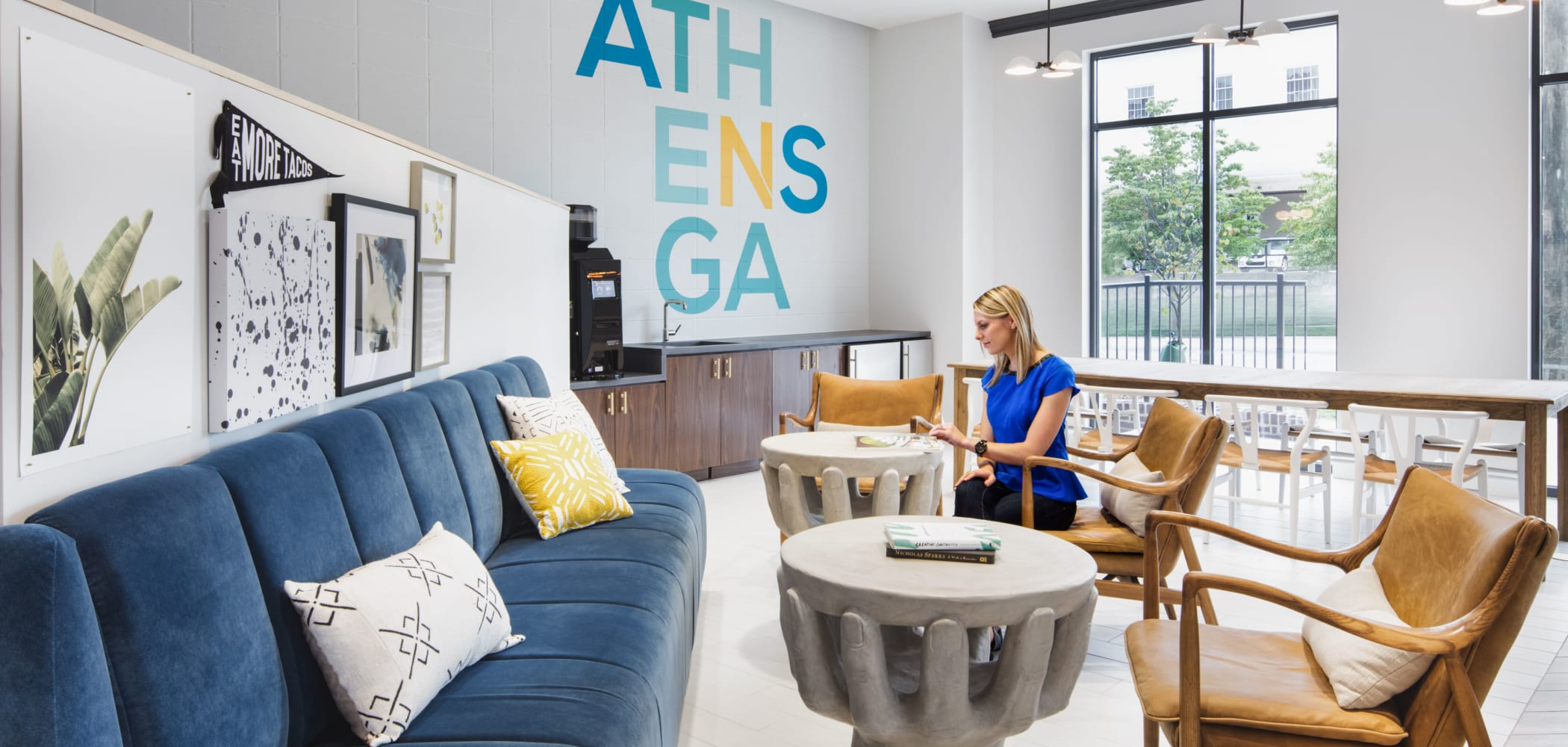 Community lounge area at UNCOMMON Athens in Athens, Georgia