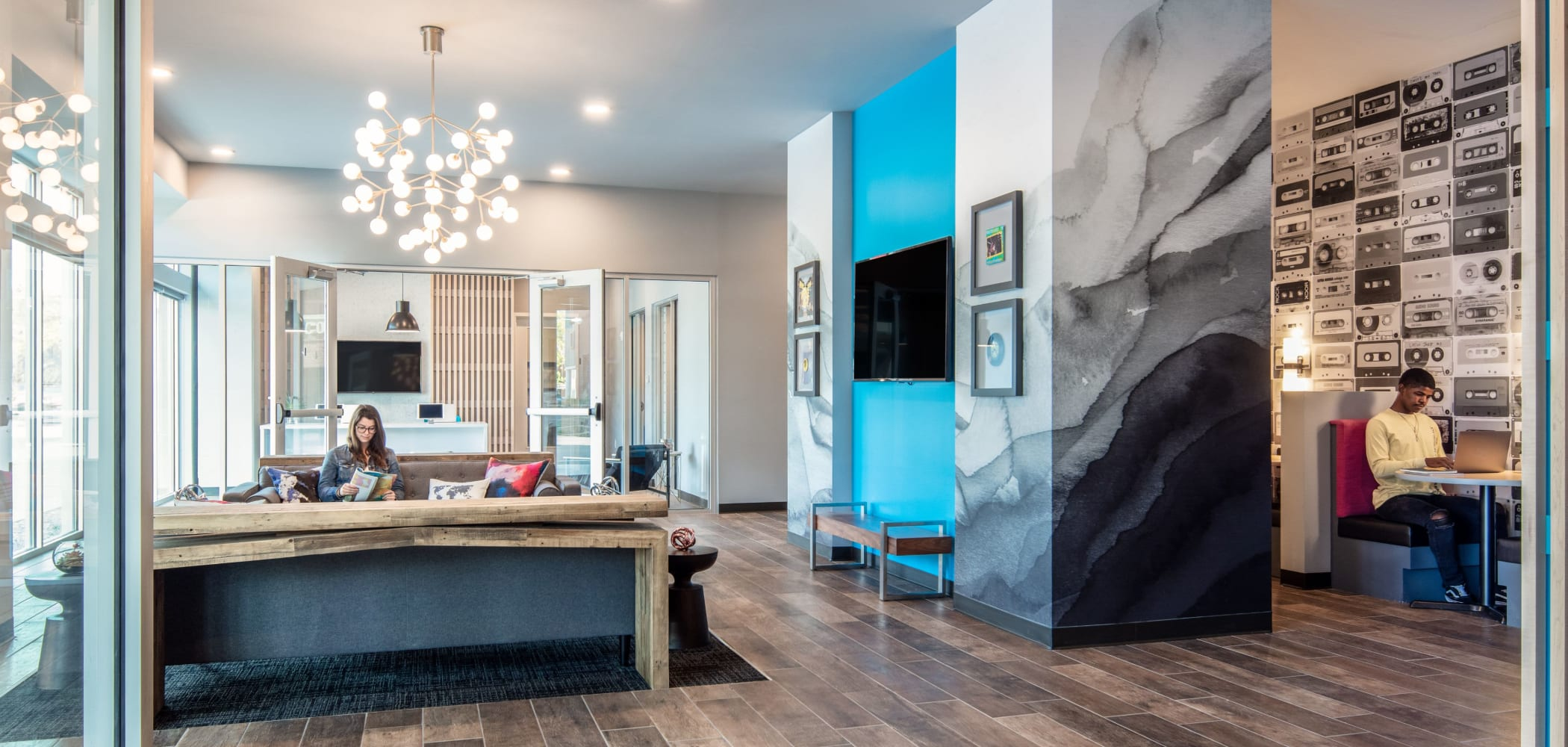 Community clubhouse for residents at UNCOMMON Columbus in Columbus, Ohio