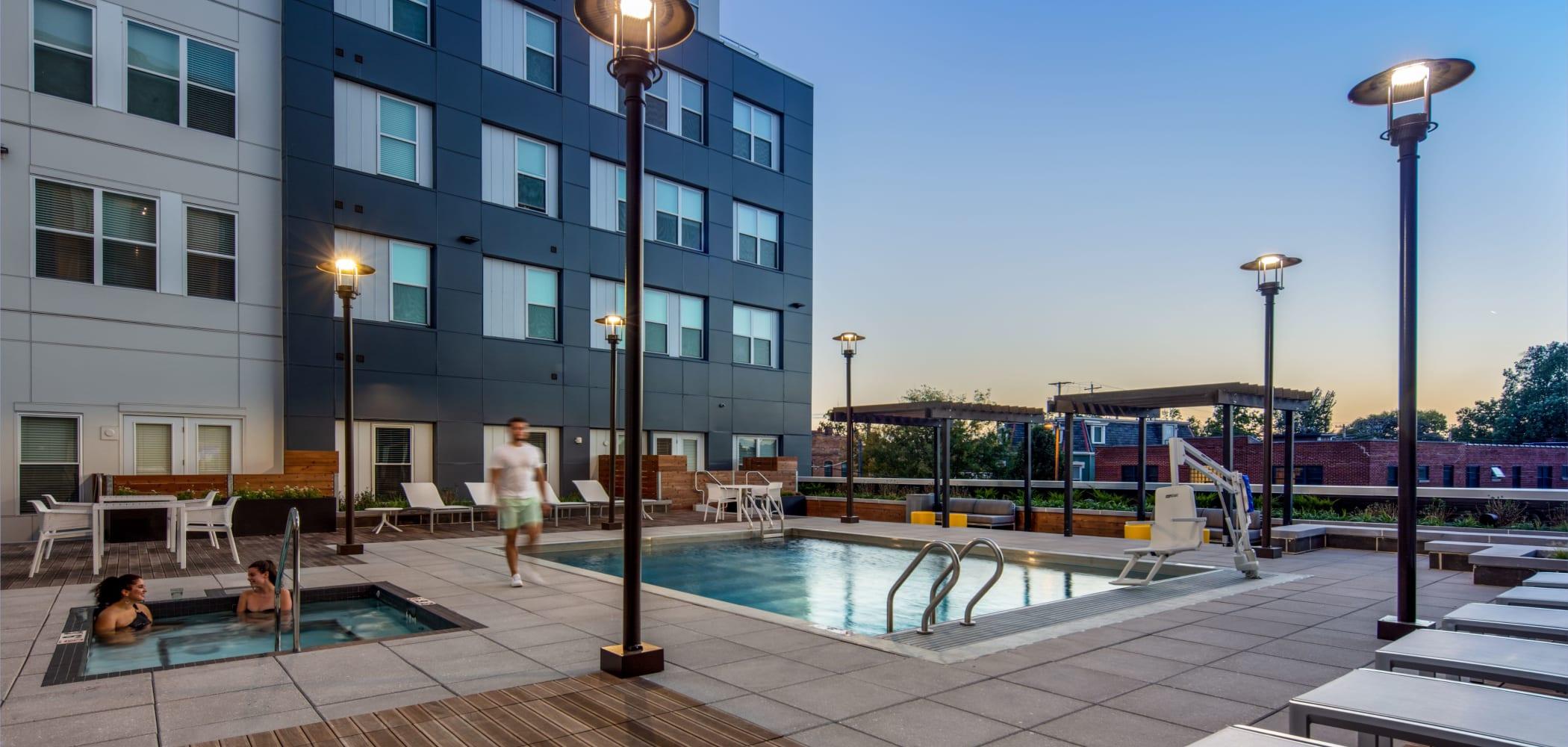 Resort-style swimming pool at UNCOMMON Columbus in Columbus, Ohio