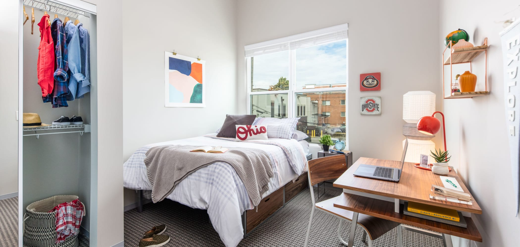 Cozy bedroom at UNCOMMON Columbus in Columbus, Ohio