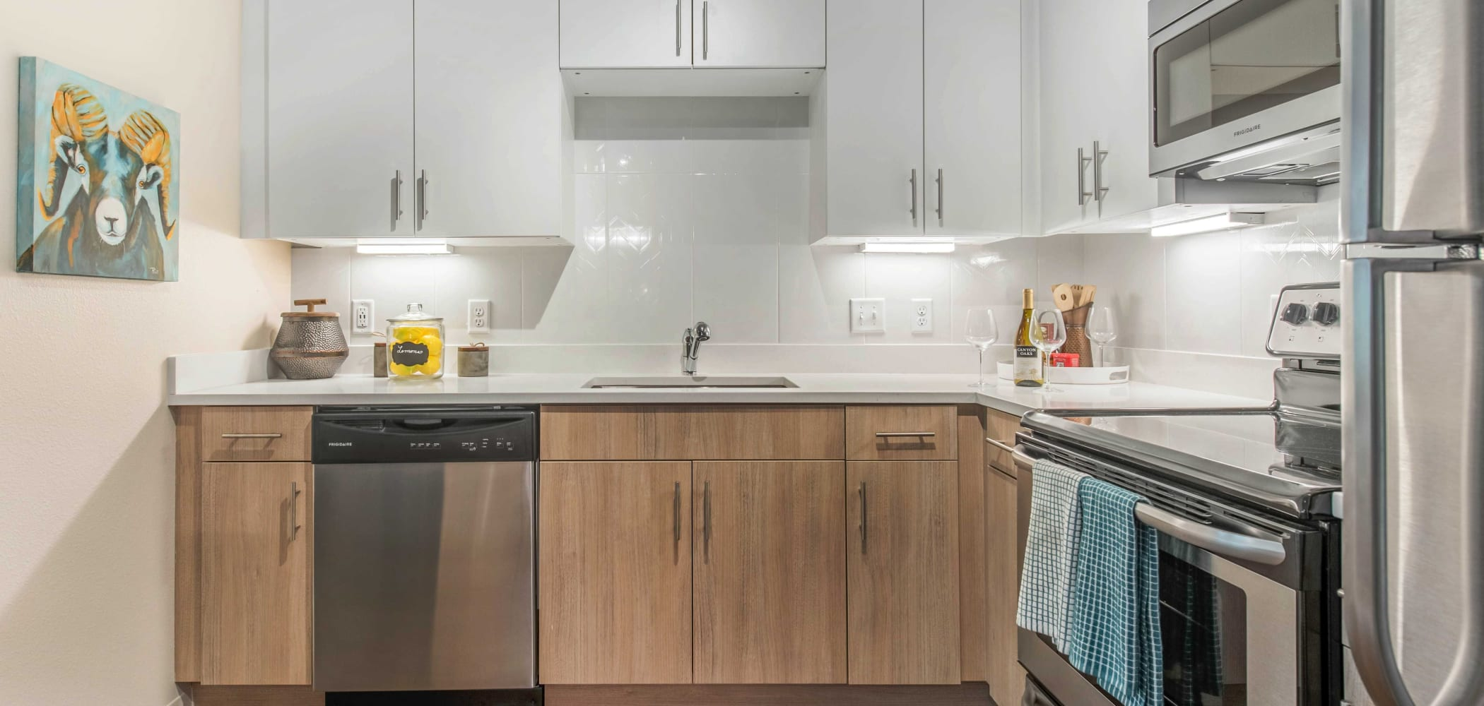 Kitchen with plenty of counter space at UNCOMMON Fort Collins in Fort Collins, Colorado
