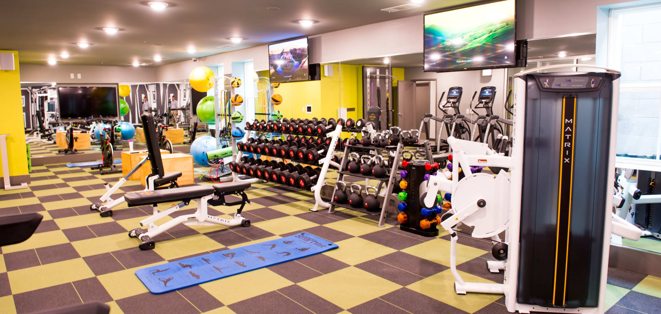 Fully equipped fitness center for residents at UNCOMMON Oxford in Oxford, Mississippi