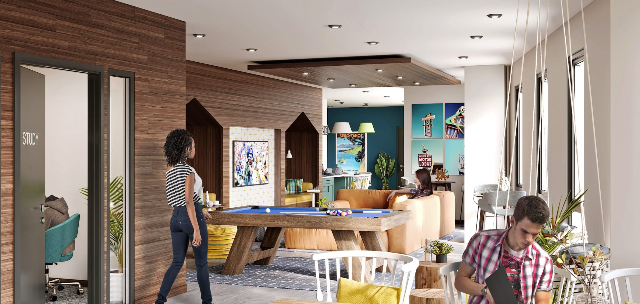 Club room for residents at UNCOMMON Reno in Reno, Nevada