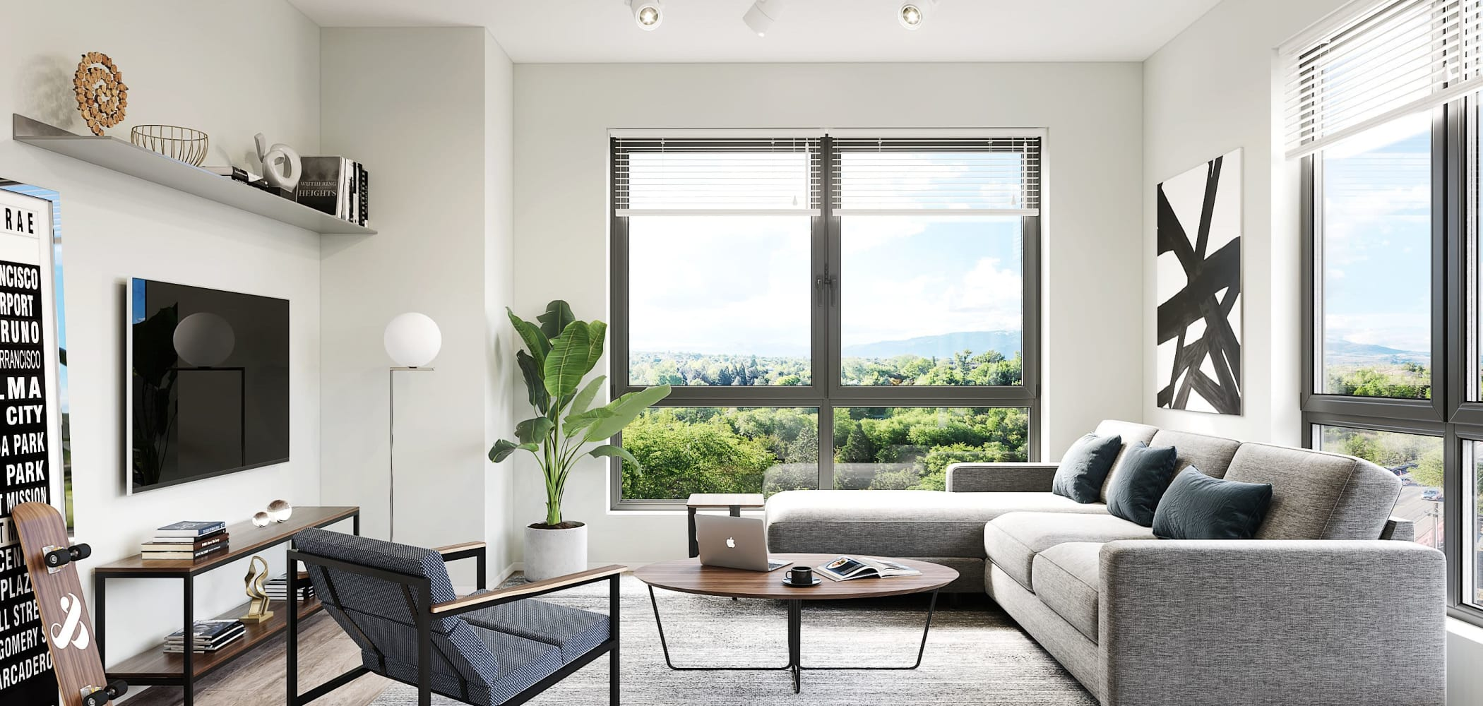 Bright living room with a great view at UNCOMMON Reno in Reno, Nevada