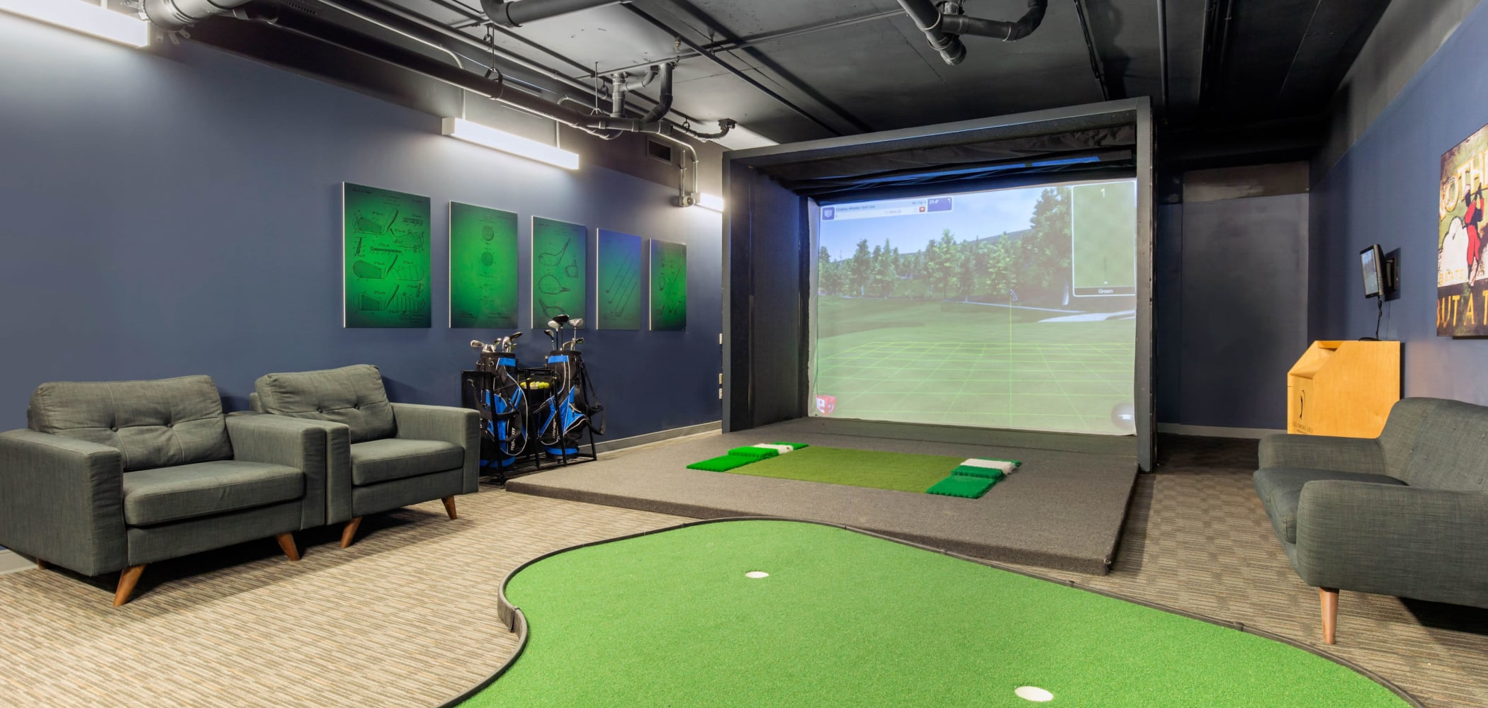 Golf room at HERE Champaign in Champaign, Illinois