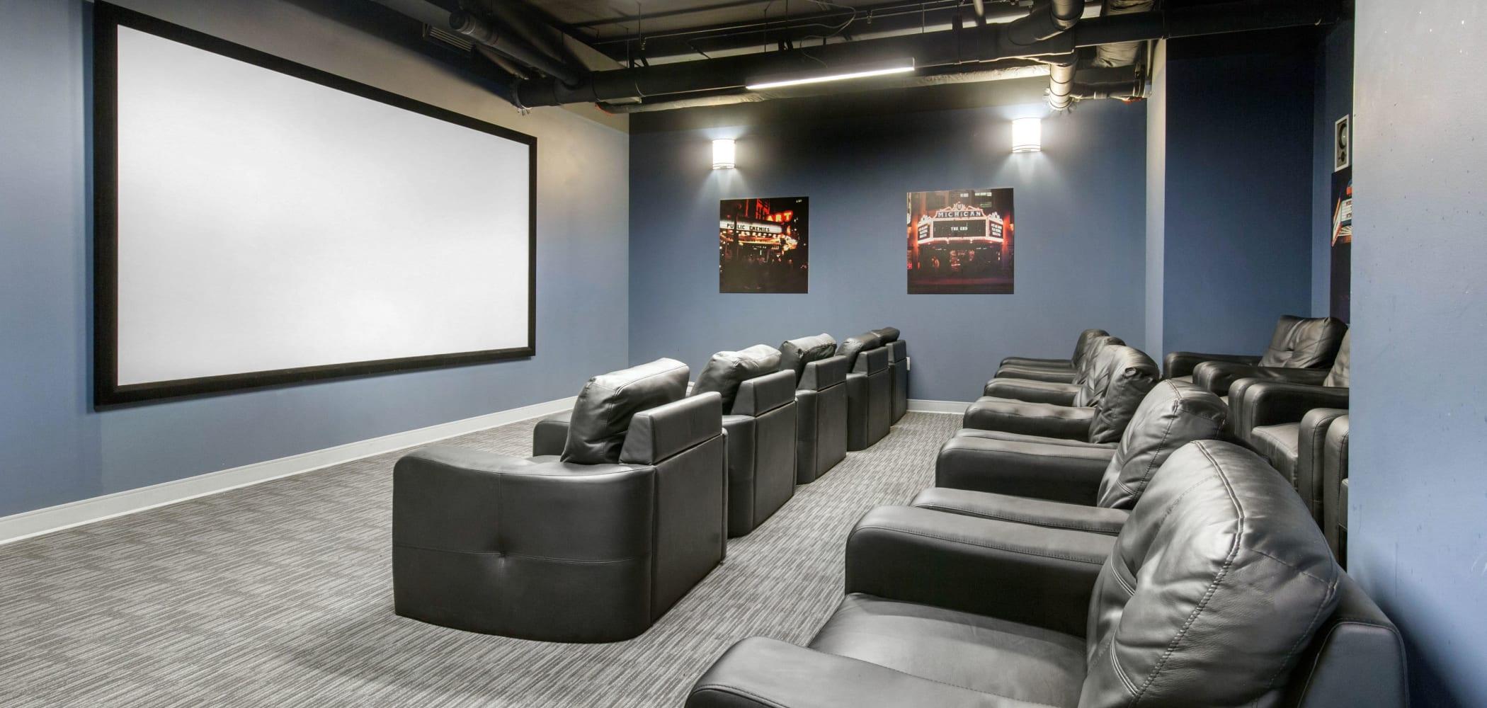 Movie theater at HERE Champaign in Champaign, Illinois