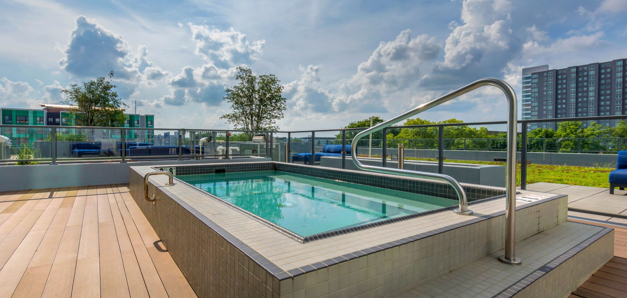 Sparkling swimming pool at HERE Champaign in Champaign, Illinois