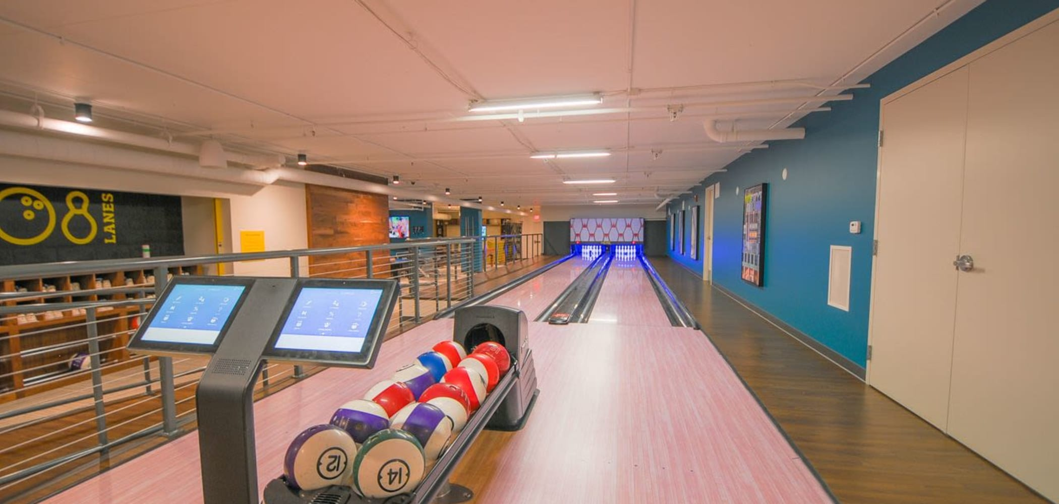 Onsite bowling alley at HERE Champaign in Champaign, Illinois