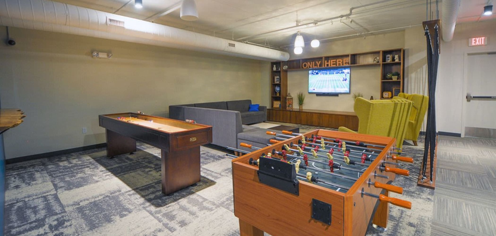 Game room at HERE Champaign in Champaign, Illinois