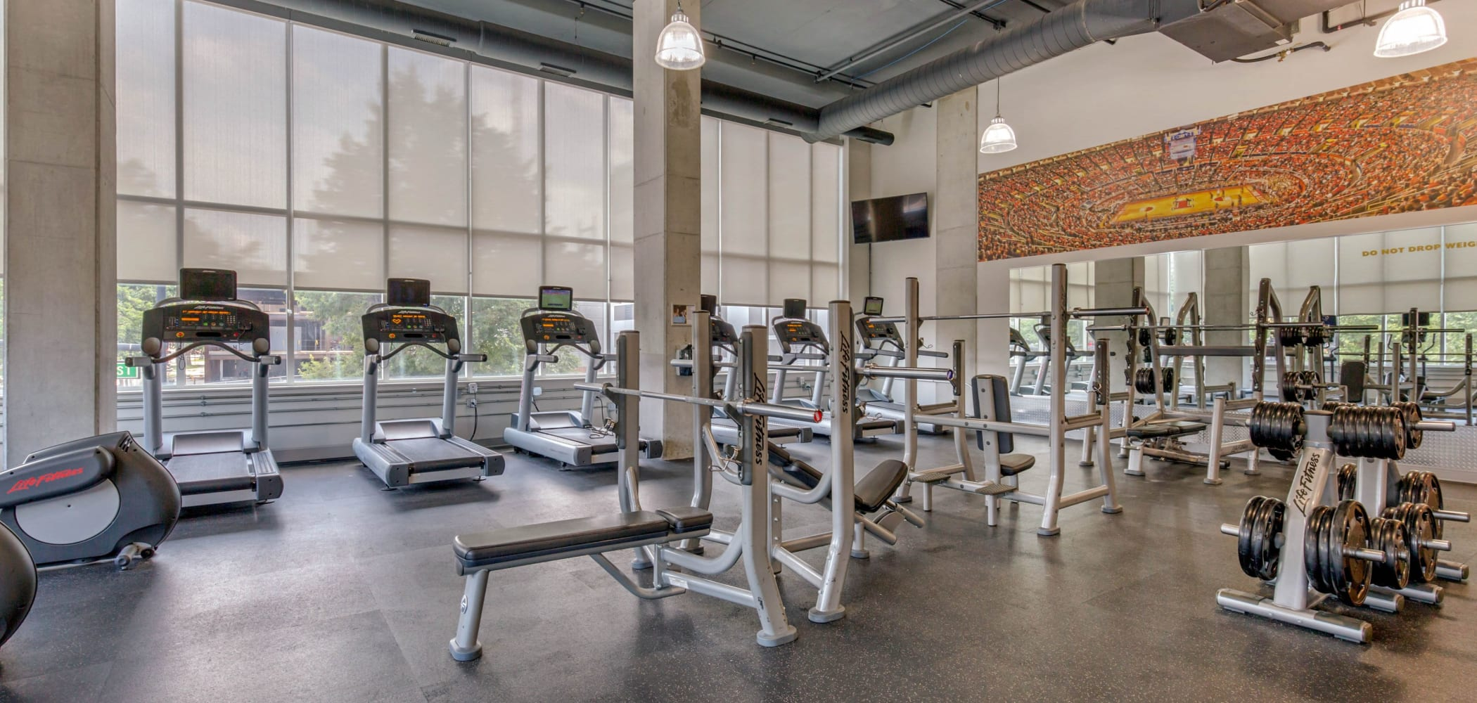 State-of-the-art fitness center at HERE Champaign in Champaign, Illinois