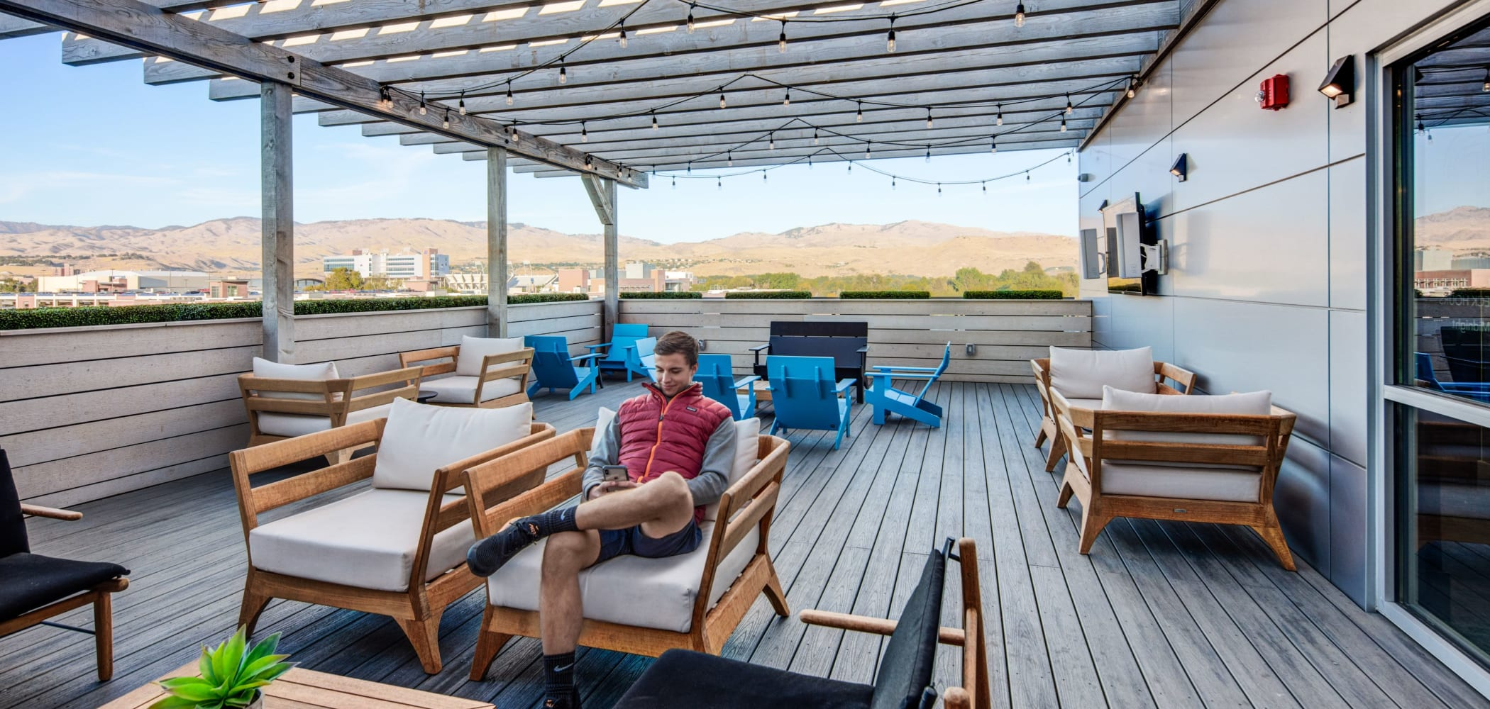 Outdoor, rooftop lounge at IDENTITY Boise in Boise, Idaho