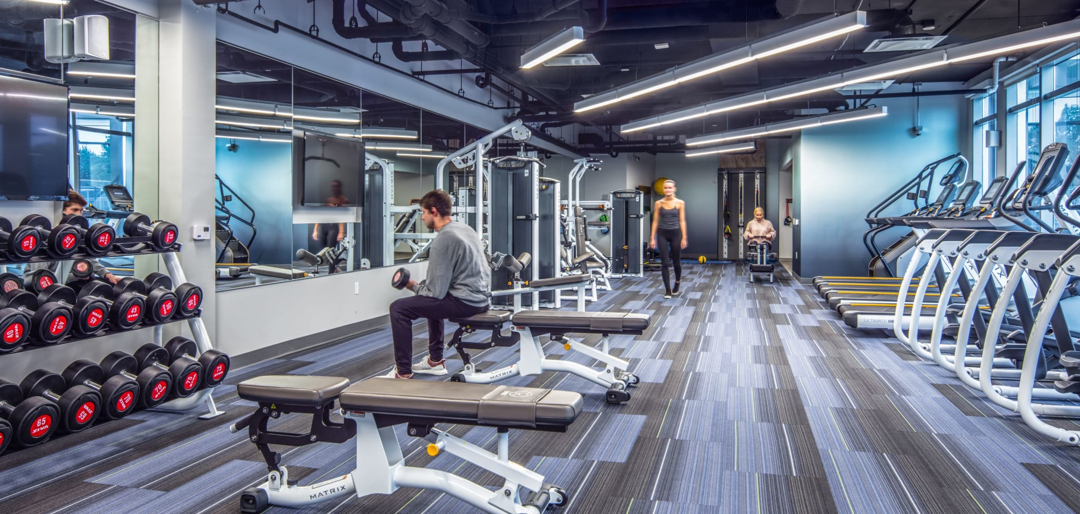 State-of-the-art fitness center at RISE at Riverfront Crossings in Iowa City, Iowa