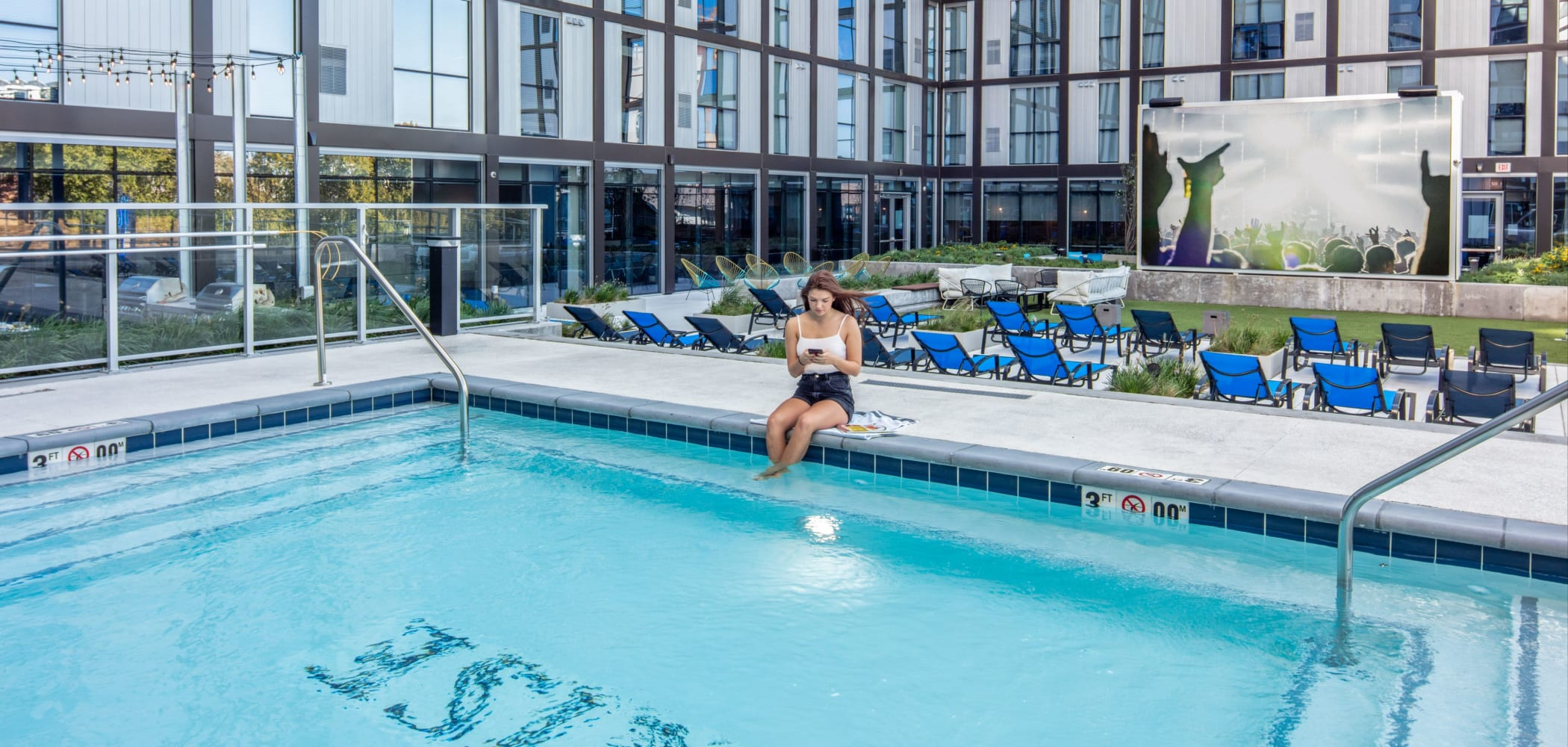 Resort-style swimming pool at RISE at Riverfront Crossings in Iowa City, Iowa