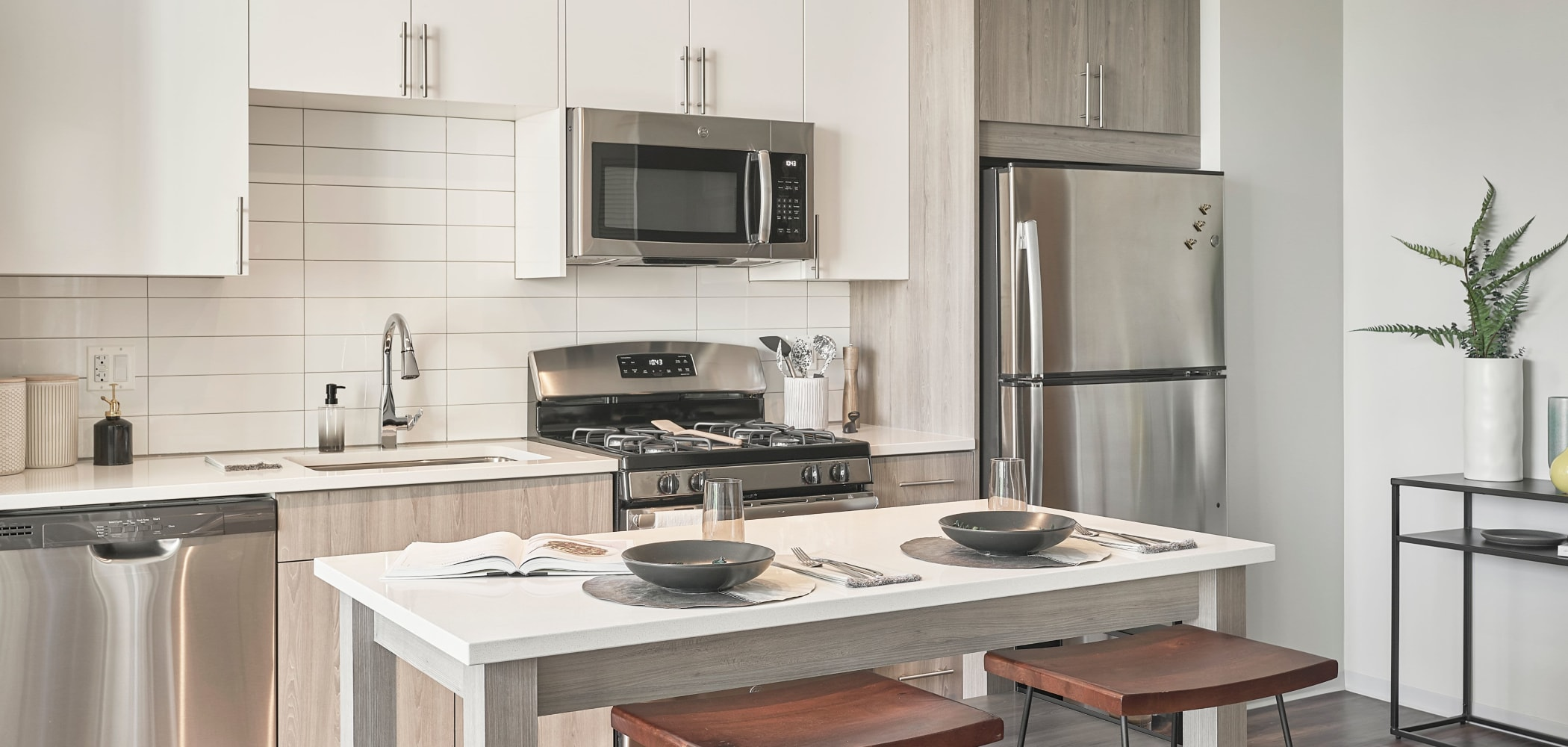 Sleek, modern kitchen at The Link Evanston in Evanston, Illinois