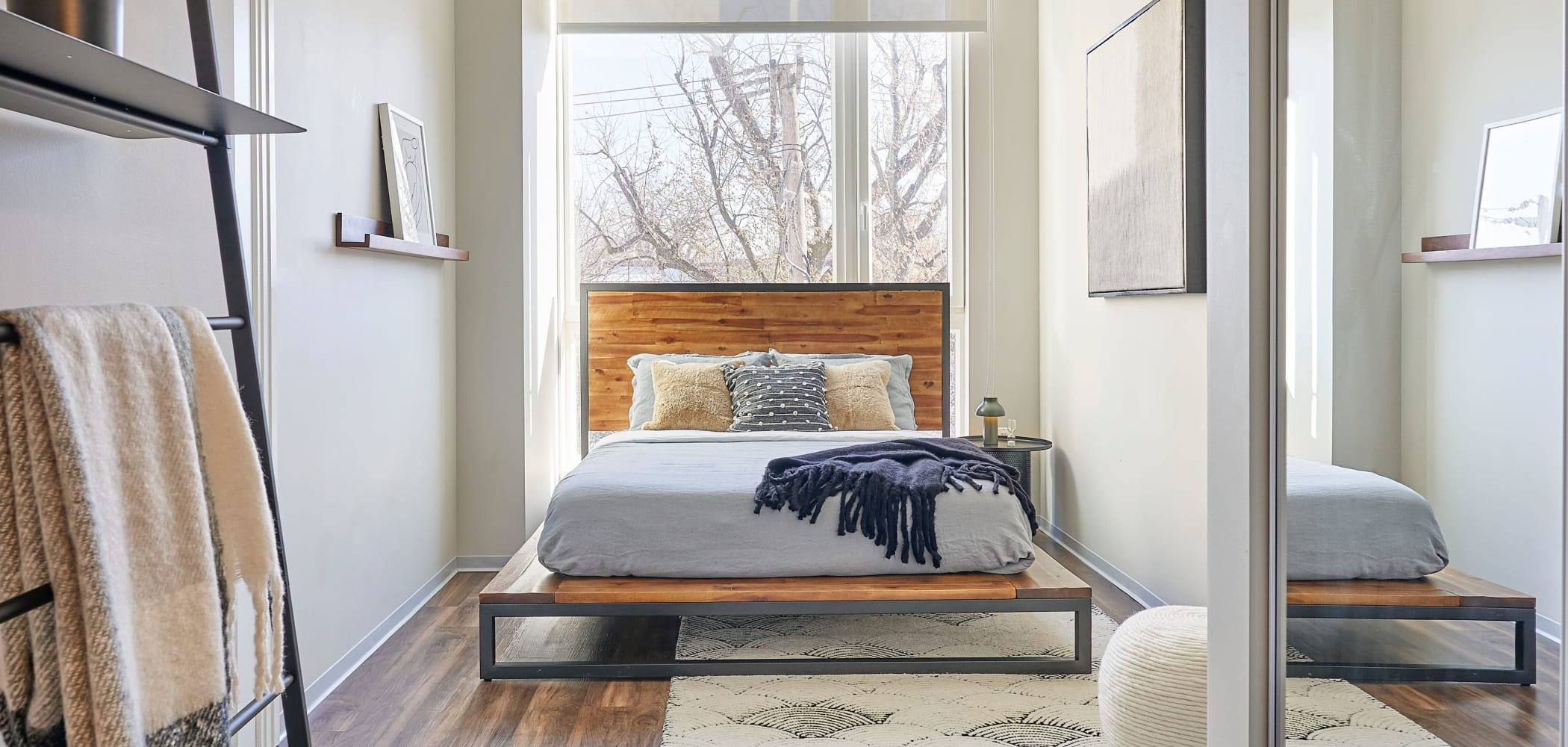 Bright, spacious bedroom at The Link Evanston in Evanston, Illinois