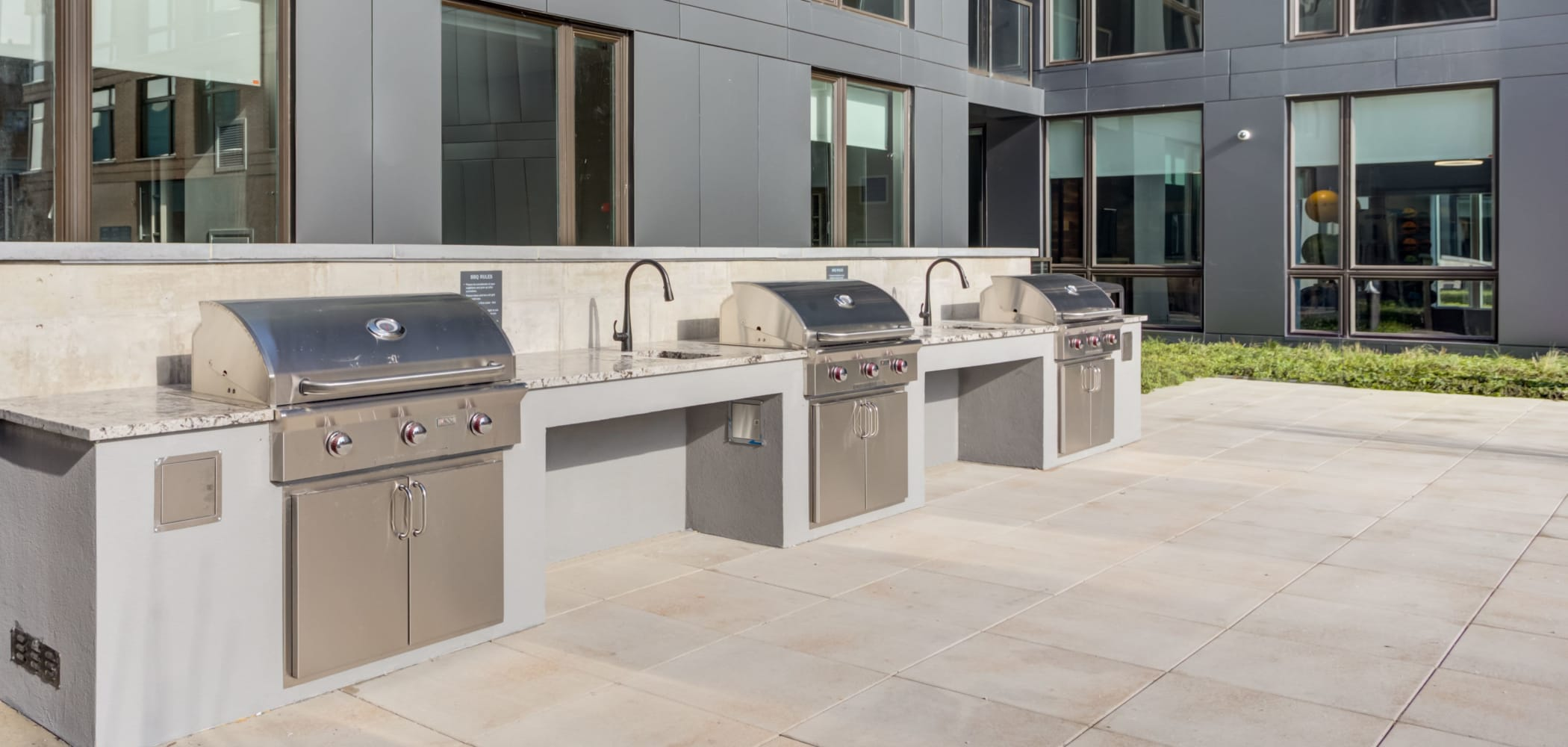 Outdoor grilling stations at The Link Evanston in Evanston, Illinois
