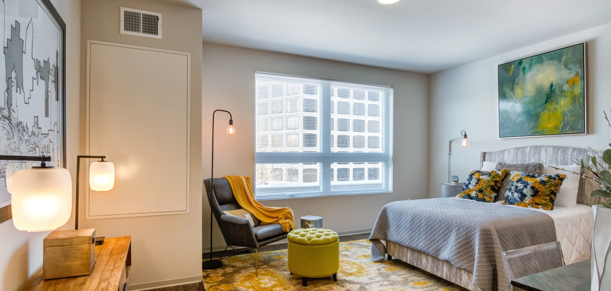 Large primary bedroom at The Link Minneapolis in Minneapolis, Minnesota
