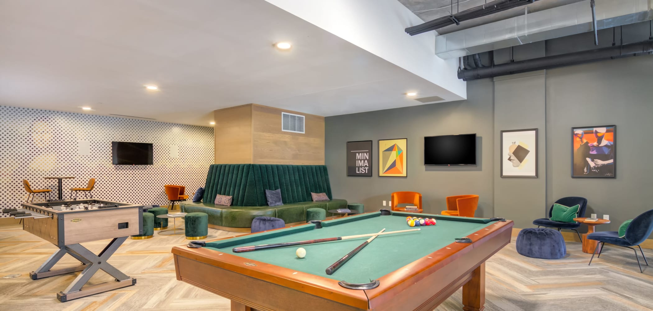 Community game room at The Link Minneapolis in Minneapolis, Minnesota