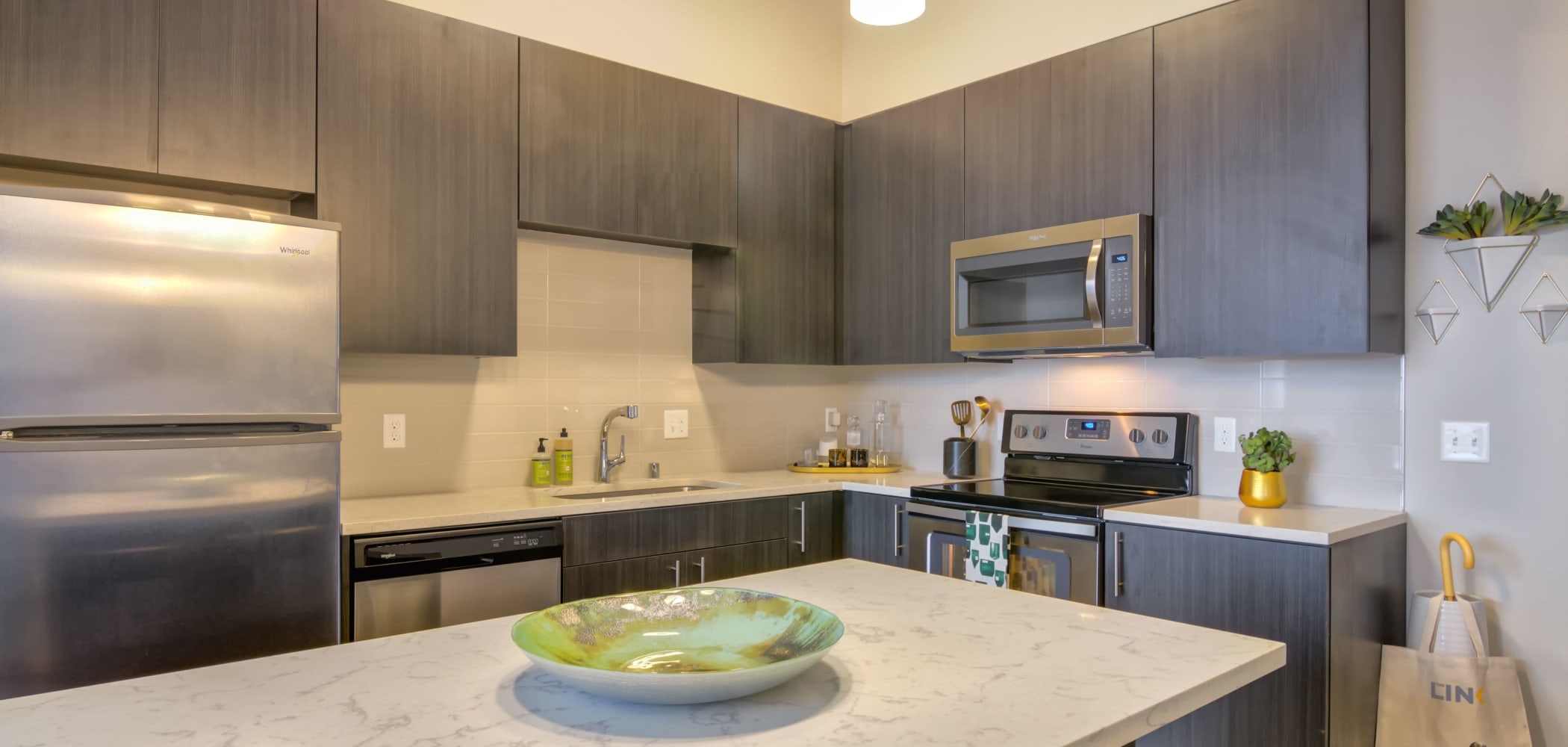 Kitchen with plenty of cabinet space at The Link Minneapolis in Minneapolis, Minnesota