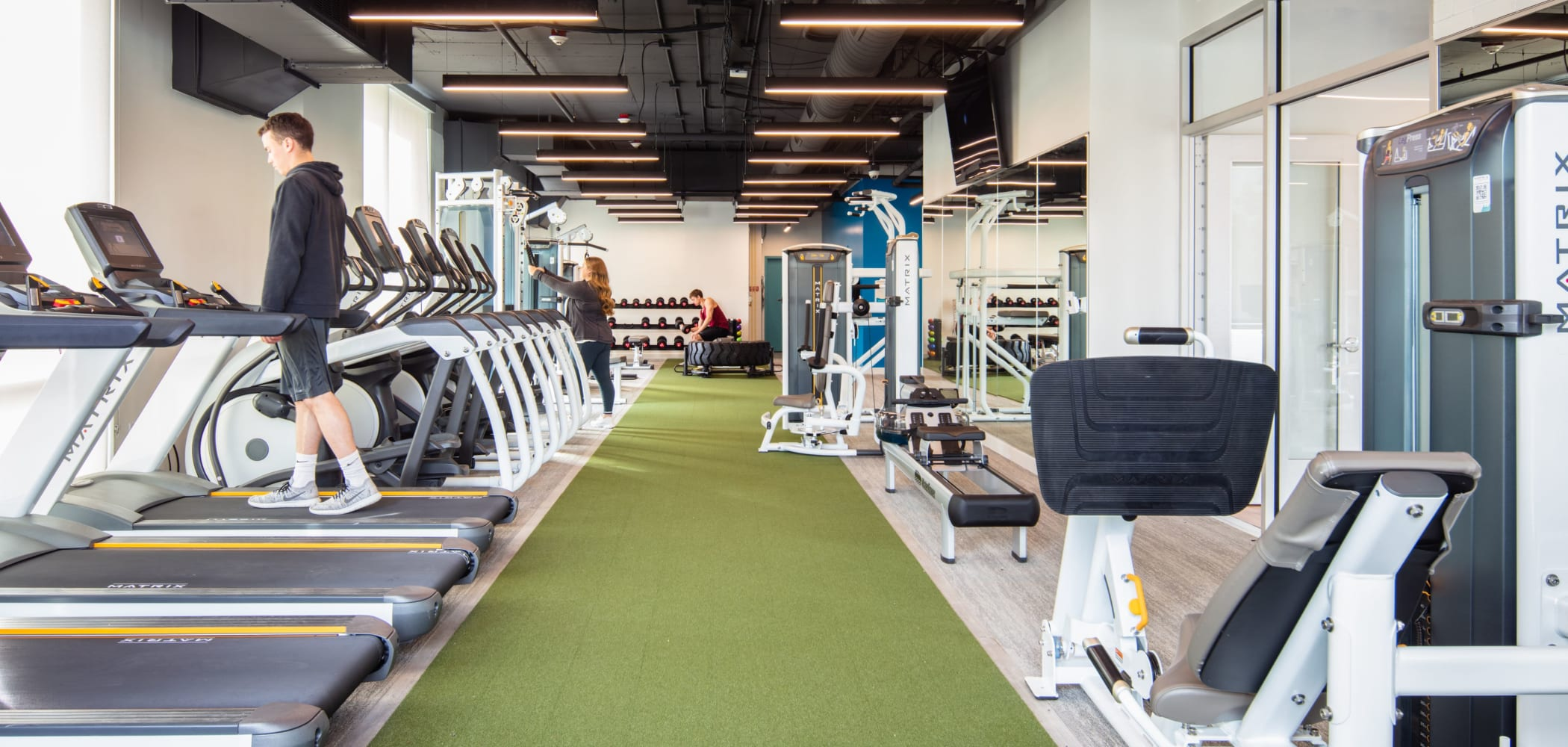 Fully equipped fitness center at evolve on Main in Pullman, Washington