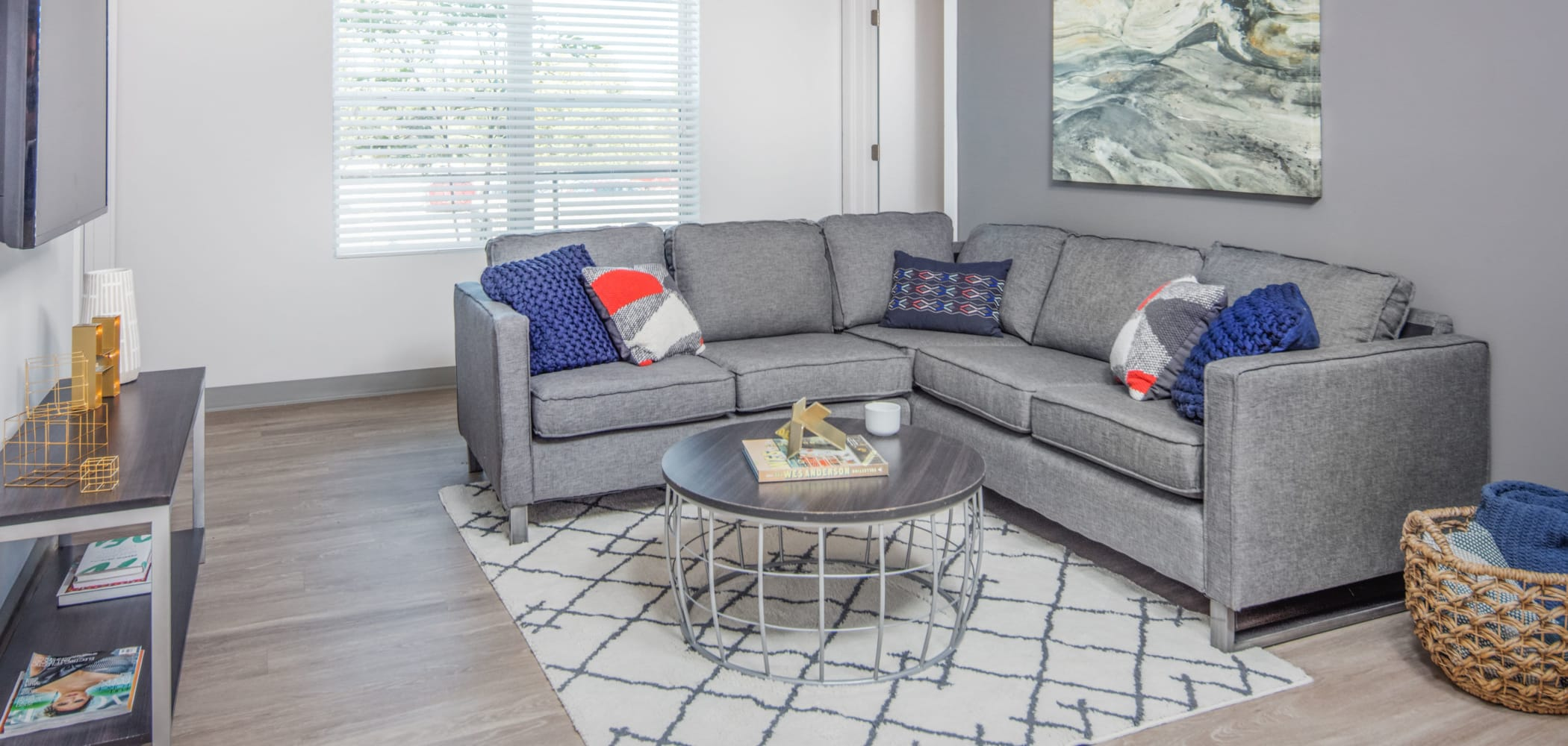 Spacious living room at evolve Tuscaloosa in Tuscaloosa, Alabama