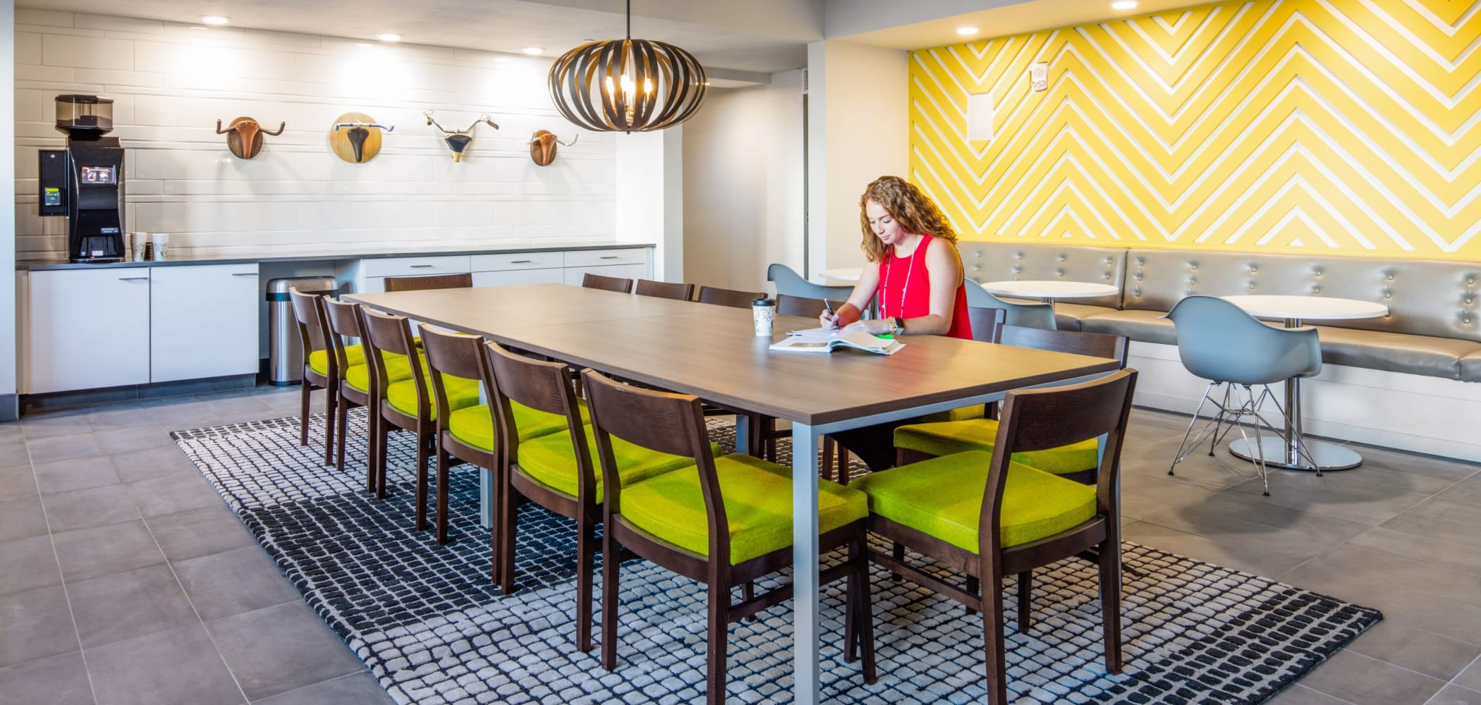 Study space with coffee bar at HERE Kansas in Lawrence, Kansas