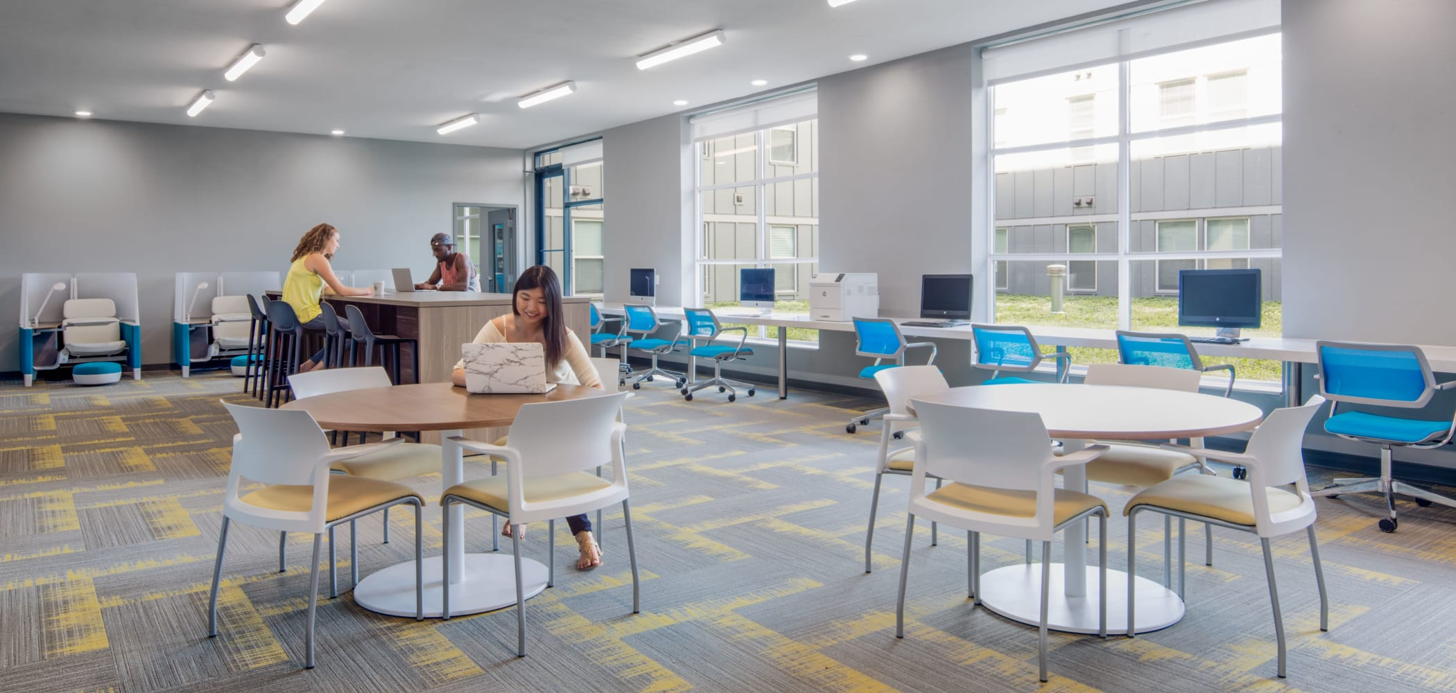 Shared study space at HERE Kansas in Lawrence, Kansas