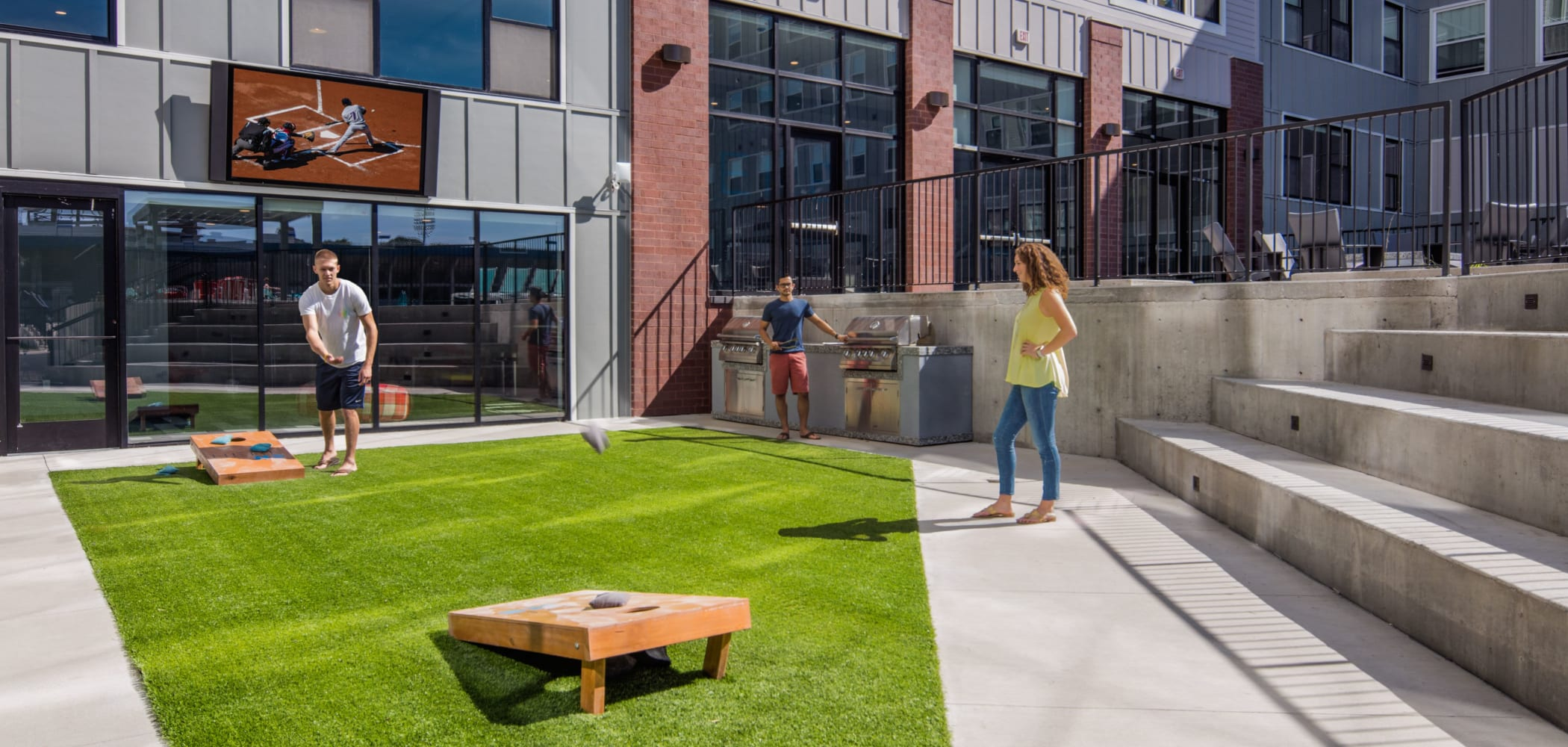 Outdoor community courtyard at HERE Kansas in Lawrence, Kansas