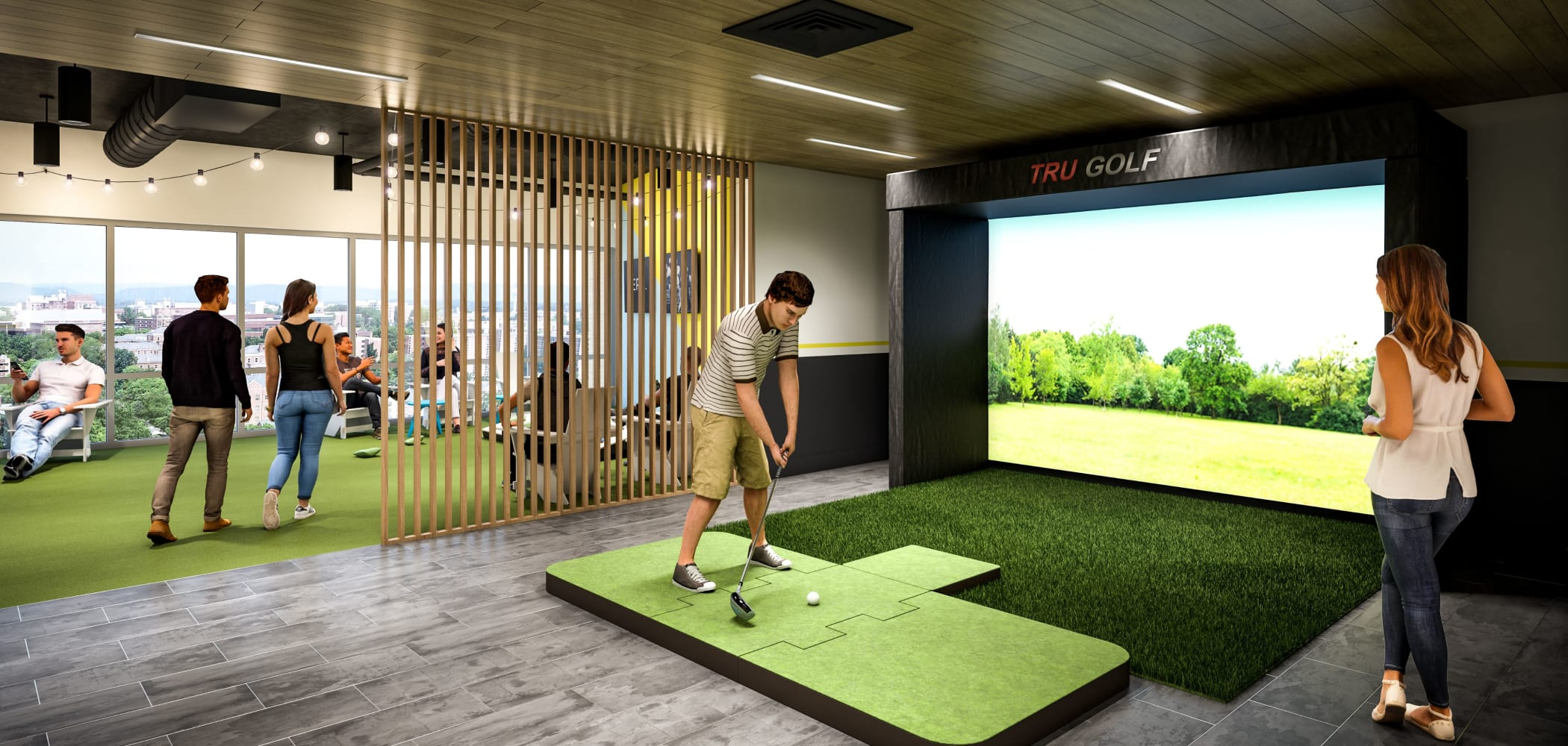 Golf simulation room at HERE State College in State College, Pennsylvania