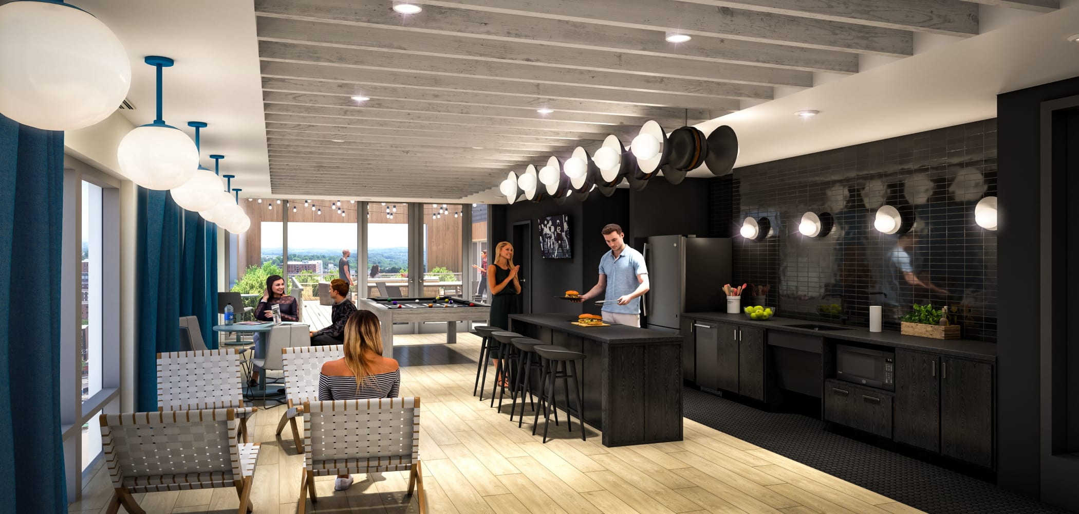 Penthouse community kitchen at HERE State College in State College, Pennsylvania